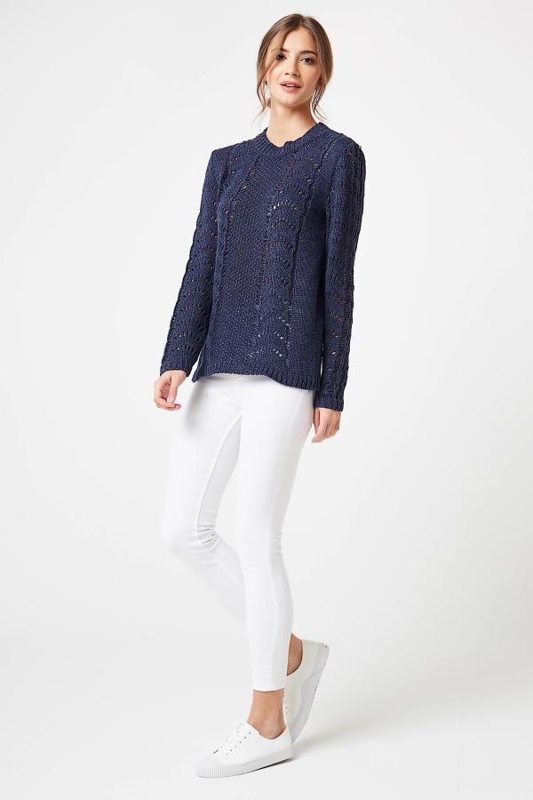 CM4250 Sweter ażurowy z długim rękawem - jeansowy