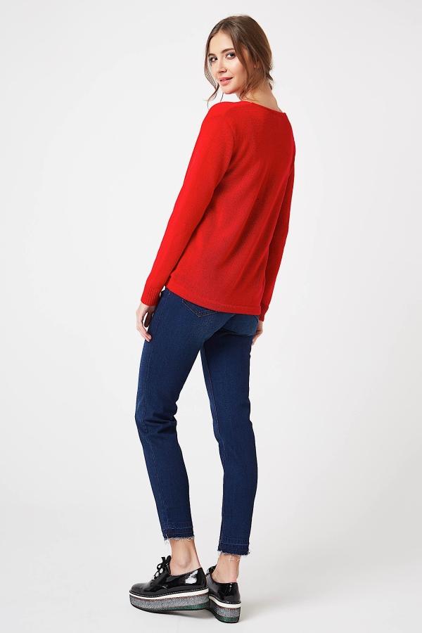 CM4251 Kopertowy sweter z szyfonowym dekoltem - czerwony