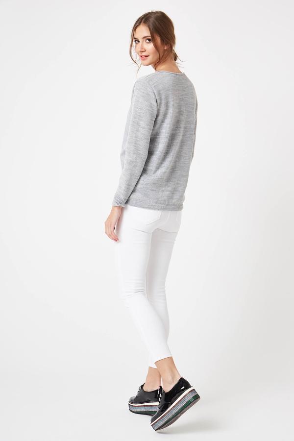 CM4251 Kopertowy sweter z szyfonowym dekoltem - jasny szary