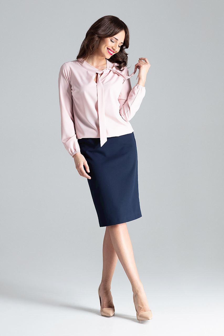 CM4256 Delikatna bluzka z długim rękawem - różowa