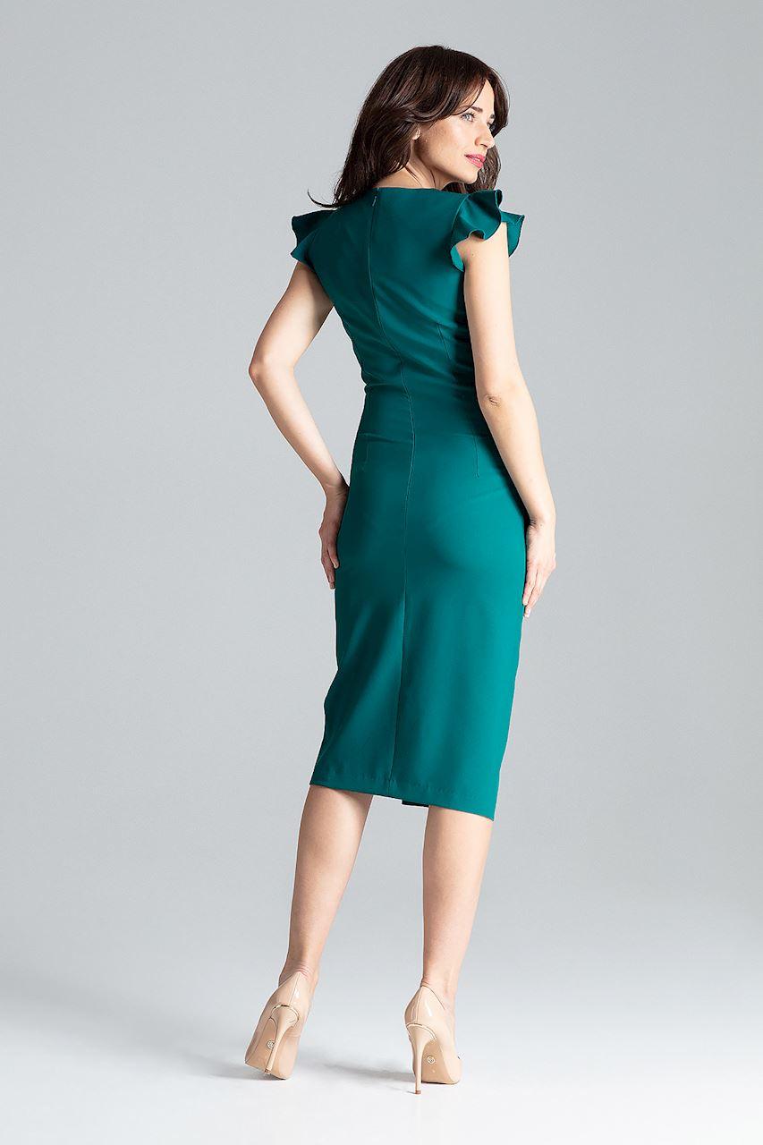 CM4260 Koktajlowa sukienka z rozcięciem - zielona