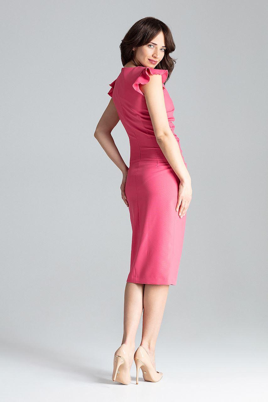 CM4260 Koktajlowa sukienka z rozcięciem - koralowa