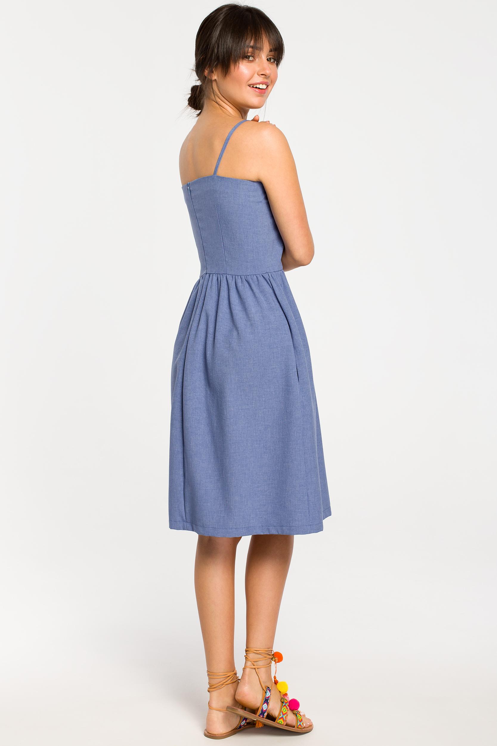 CM4261 Sukienka mini na ramiączkach - niebieska