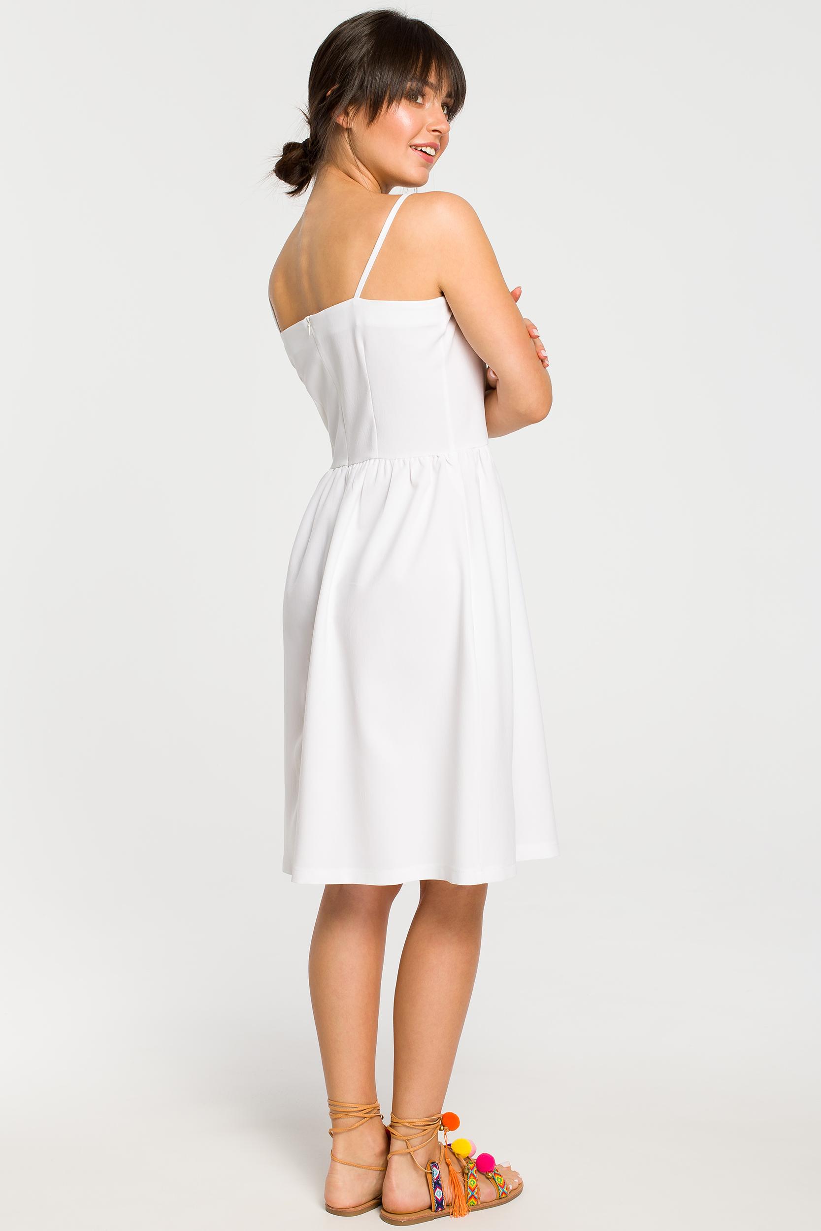 CM4261 Sukienka mini na ramiączkach - biała