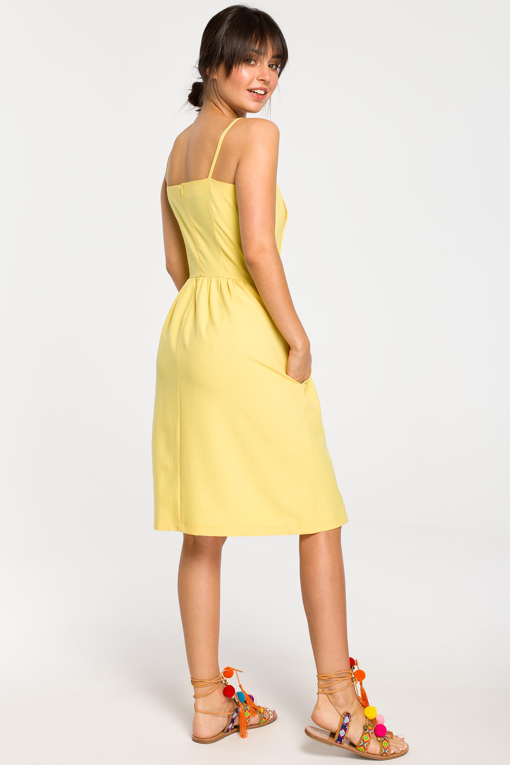 CM4261 Sukienka mini na ramiączkach - żółta