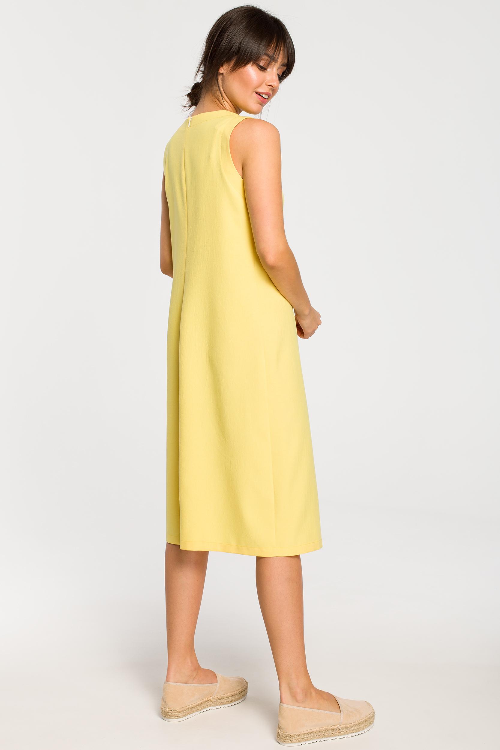 CM4263 Sukienka midi bez rękawów - żółta