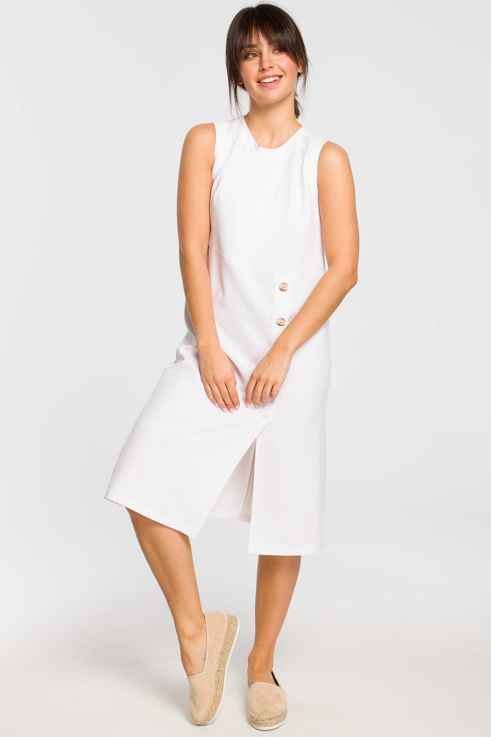 CM4263 Sukienka midi bez rękawów - biała