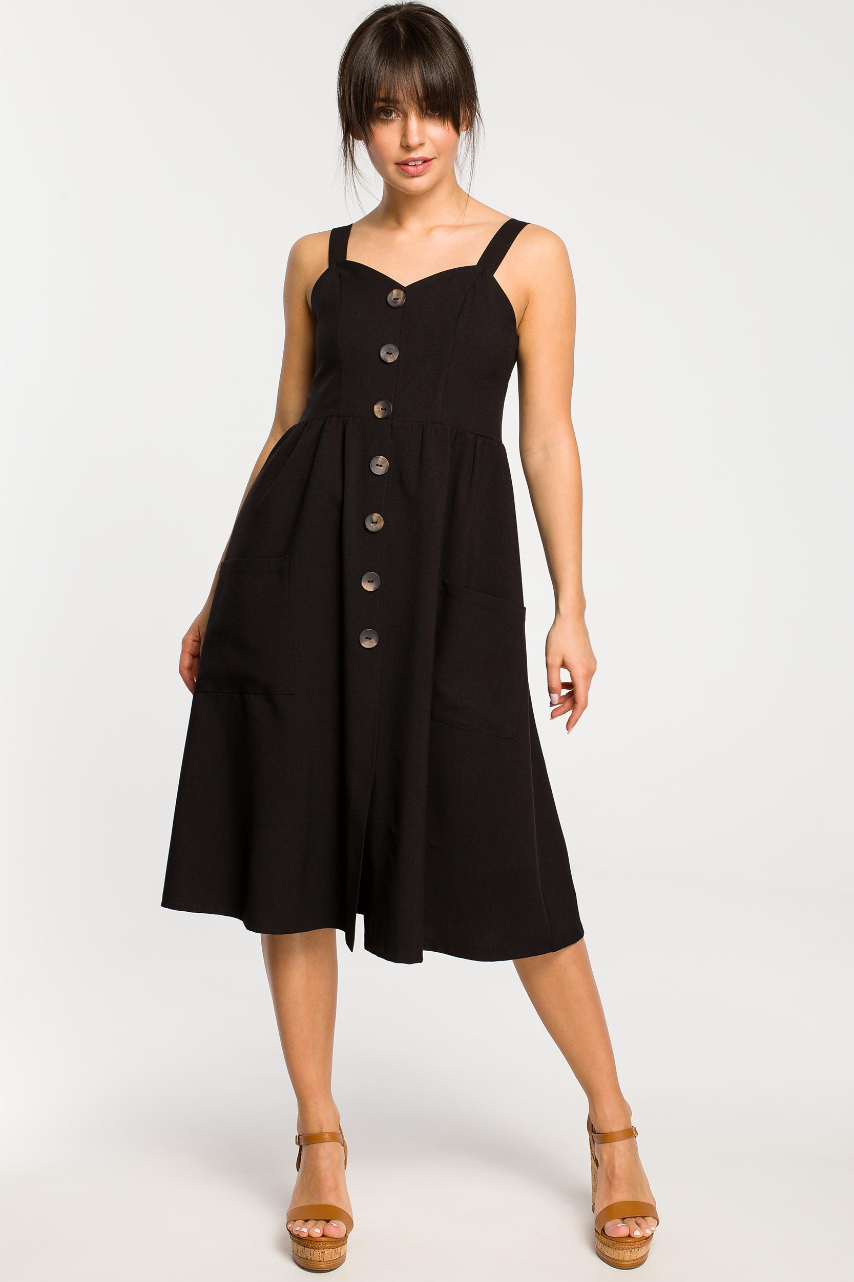 CM4265 Sukienka na szelkach z guzikami - czarna