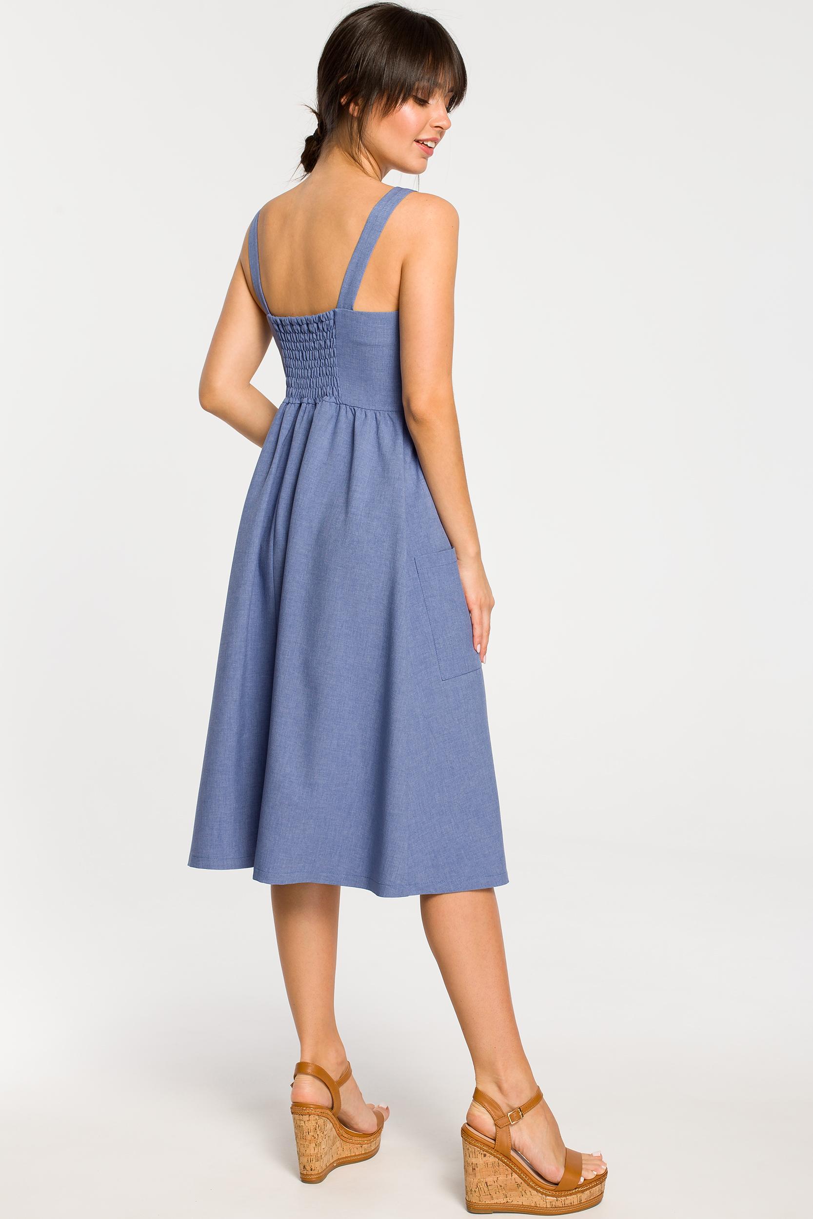 CM4265 Sukienka na szelkach z guzikami - niebieska