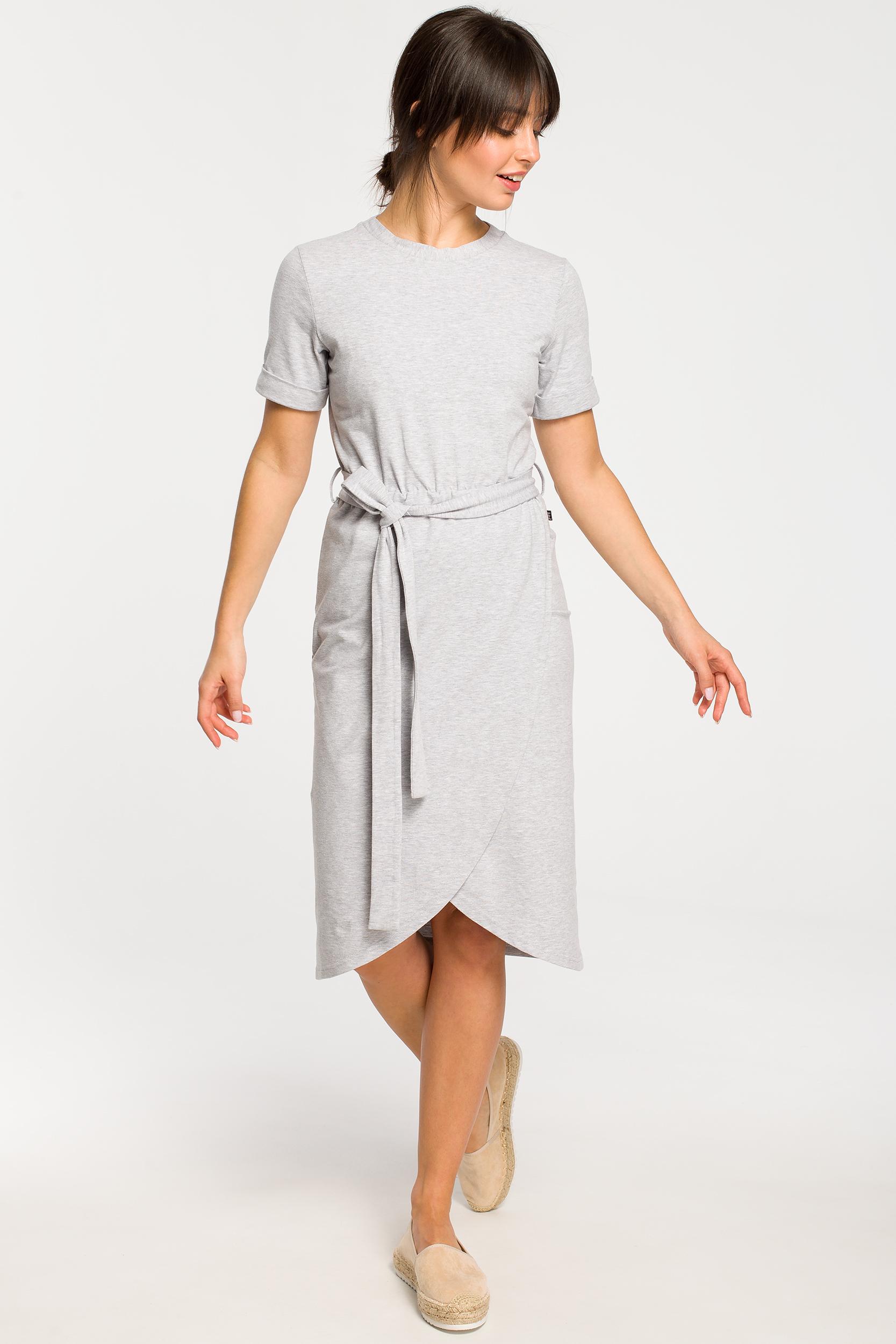 CM4266 Sukienka z zakładką - szara
