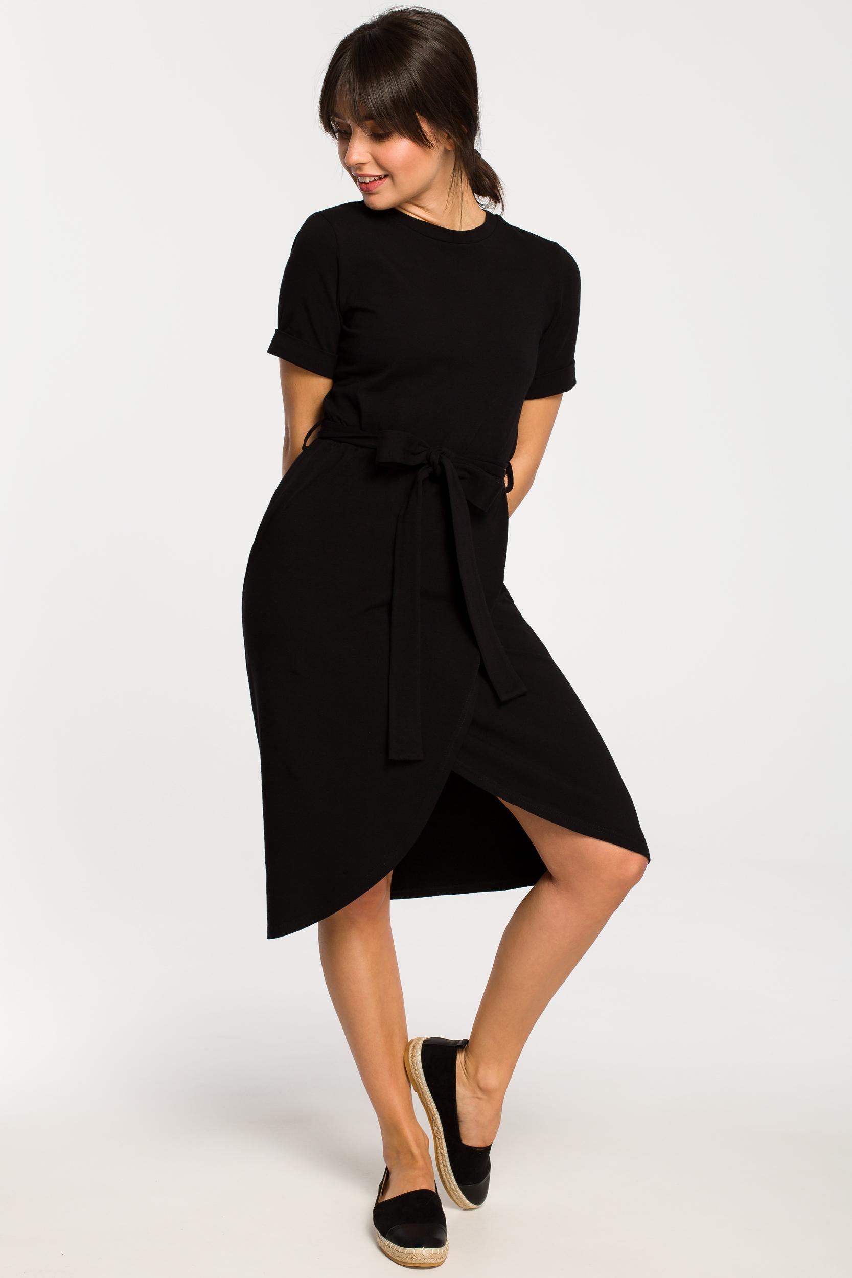 CM4266 Sukienka z zakładką - czarna