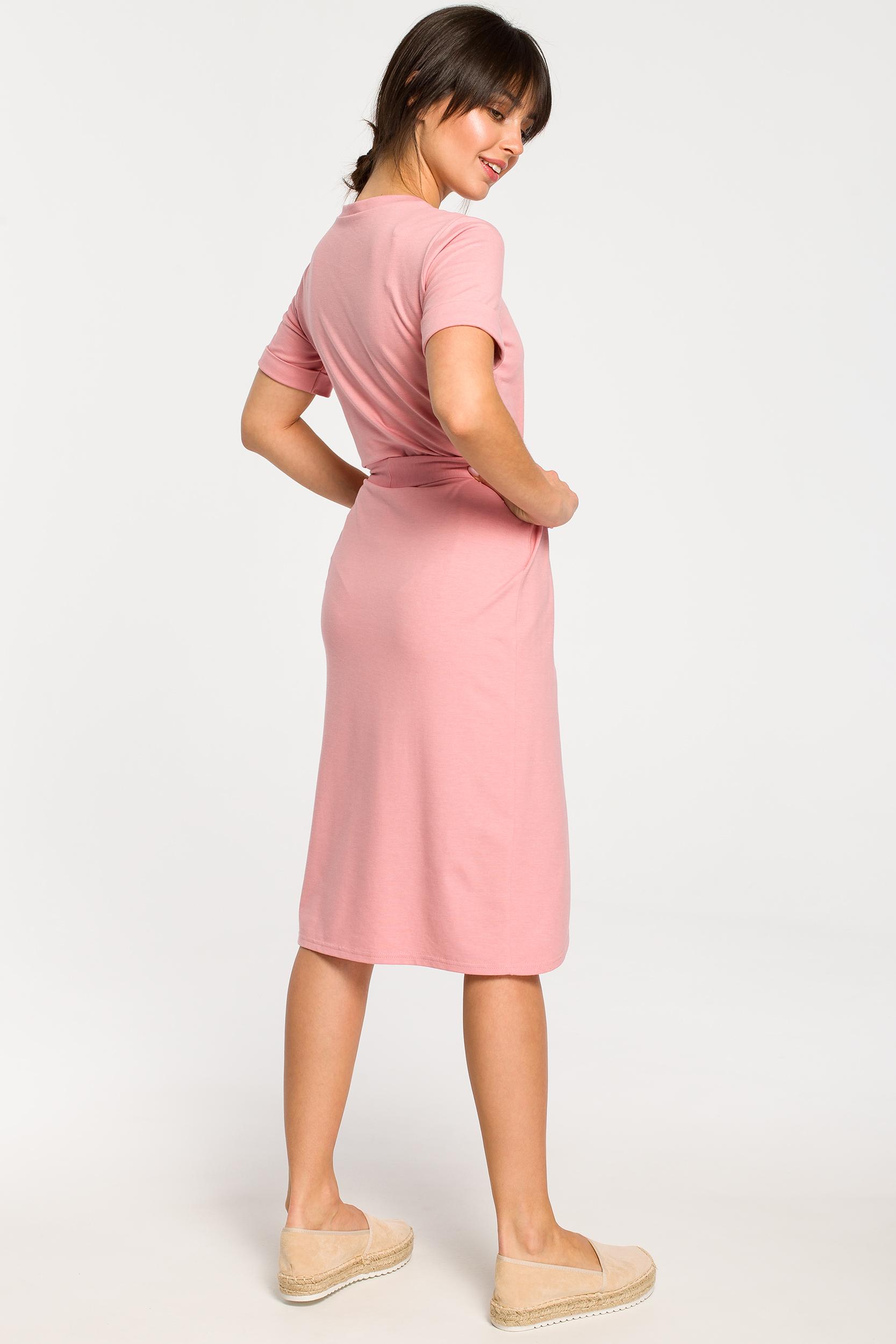 CM4266 Sukienka z zakładką - różowa