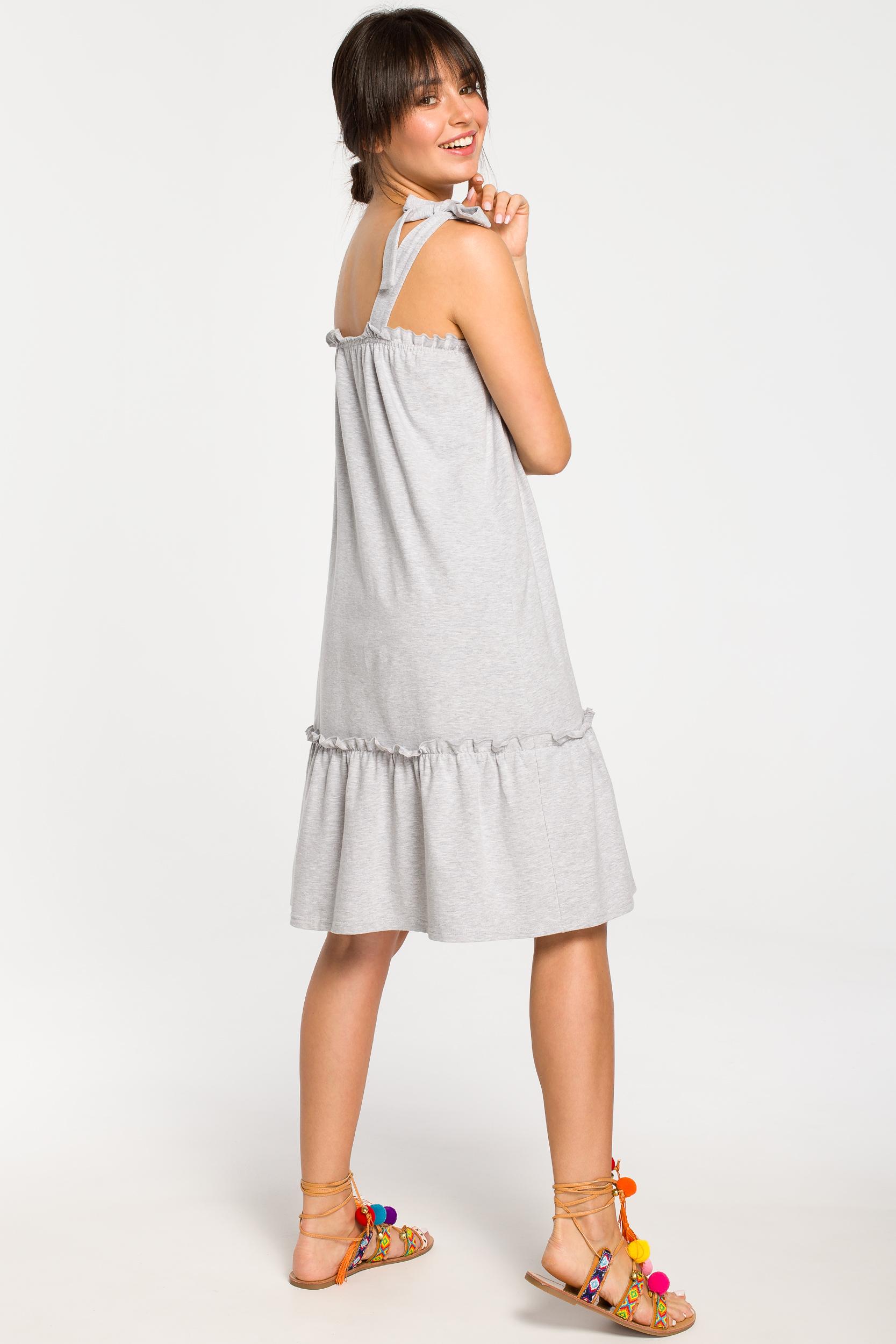 CM4267 Sukienka na wiązanych ramiączkach - szara