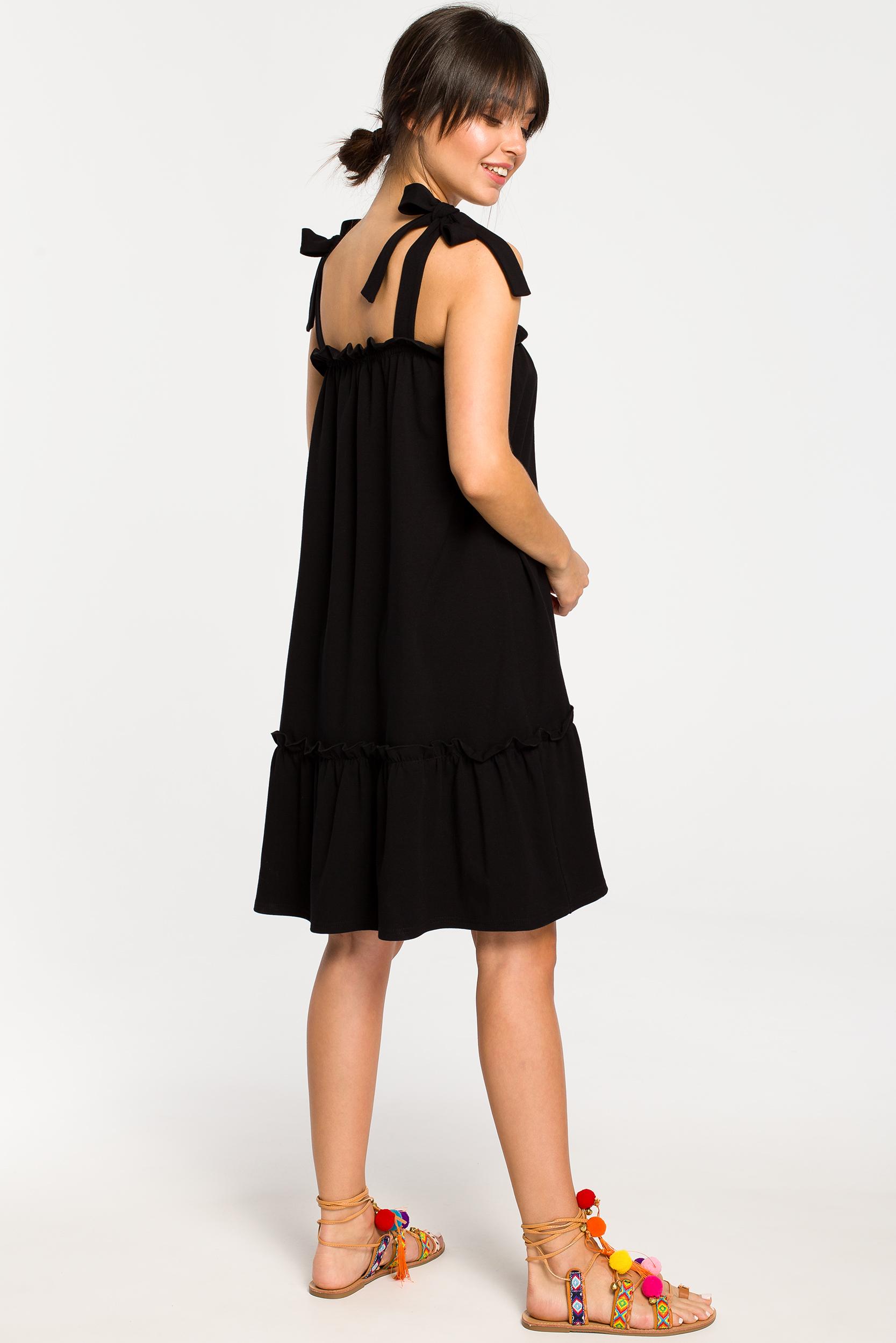 CM4267 Sukienka na wiązanych ramiączkach - czarna