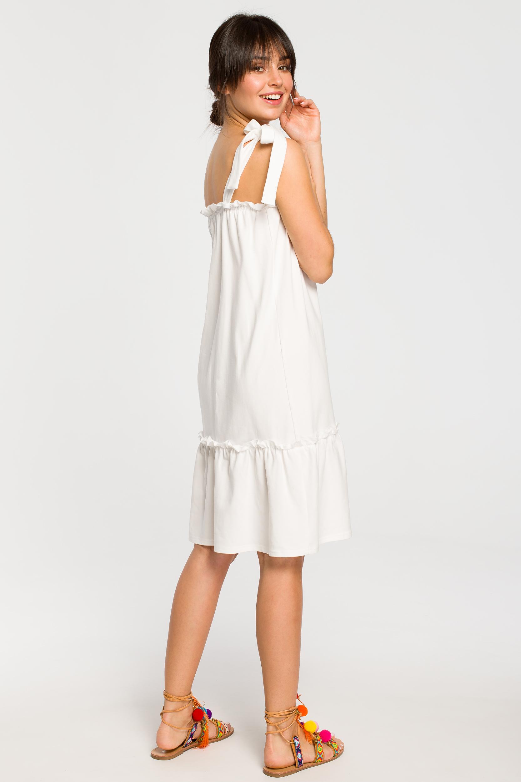 CM4267 Sukienka na wiązanych ramiączkach - ecru