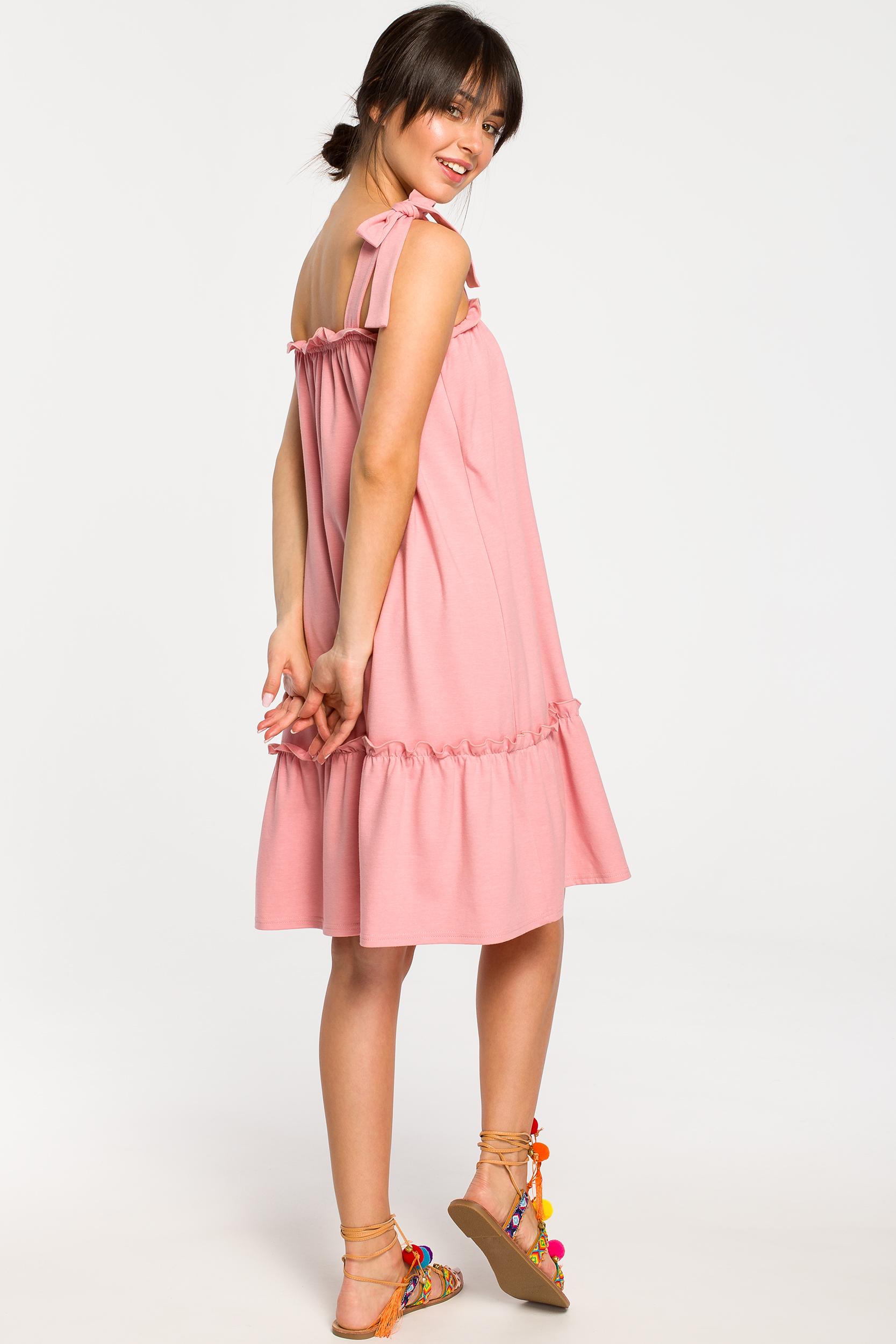 CM4267 Sukienka na wiązanych ramiączkach - różowa