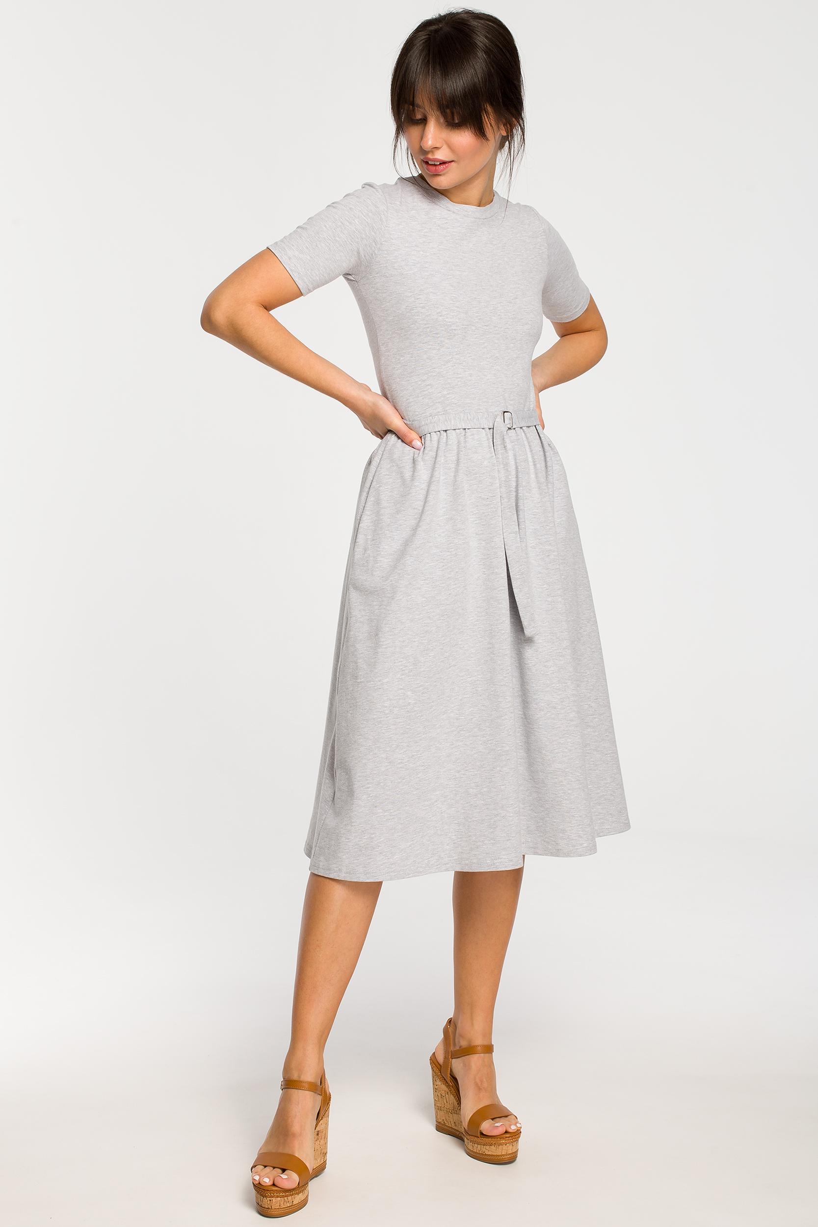 CM4268 Sukienka z paskiem i klamerką - szara