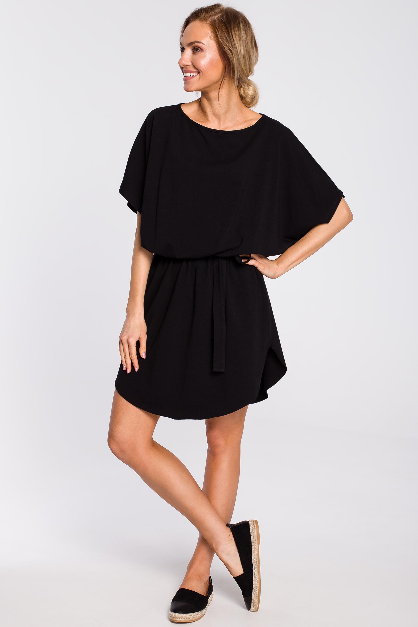 f319500e41 CM4311 Bawełniana sukienka mini z paskiem - czarna ...