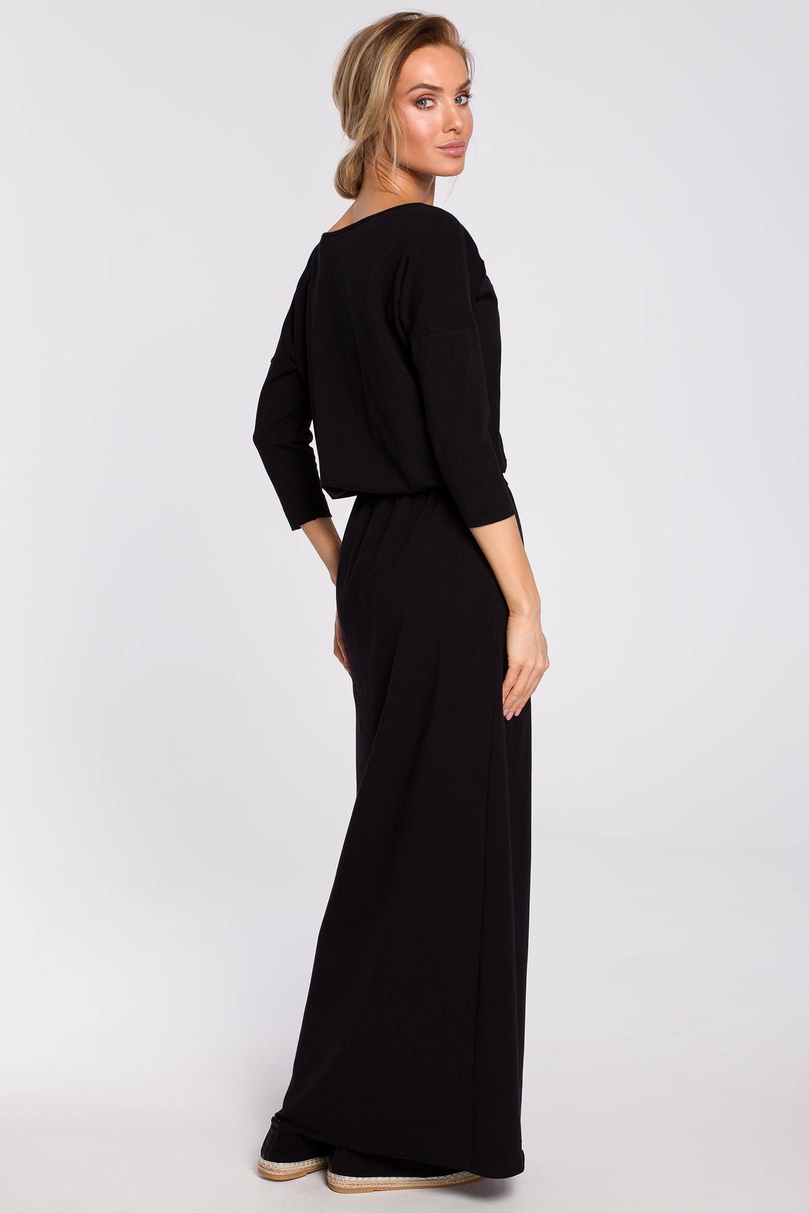 CM4313 Bawełniana sukienka maxi z paskiem w talii - czarna