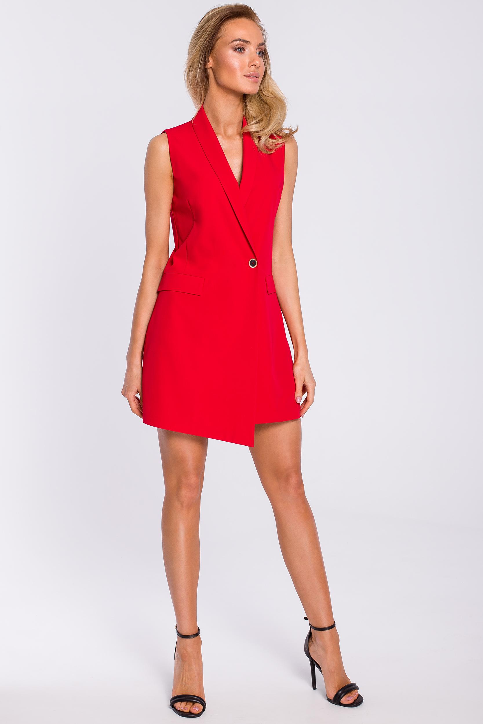 CM4317 Sukienka żakietowa bez rękawów - czerwona