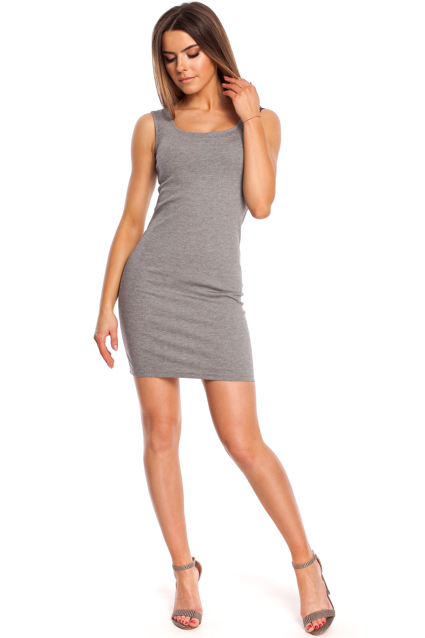 CM4320 Dopasowana sukienka mini na ramiączkach - szara