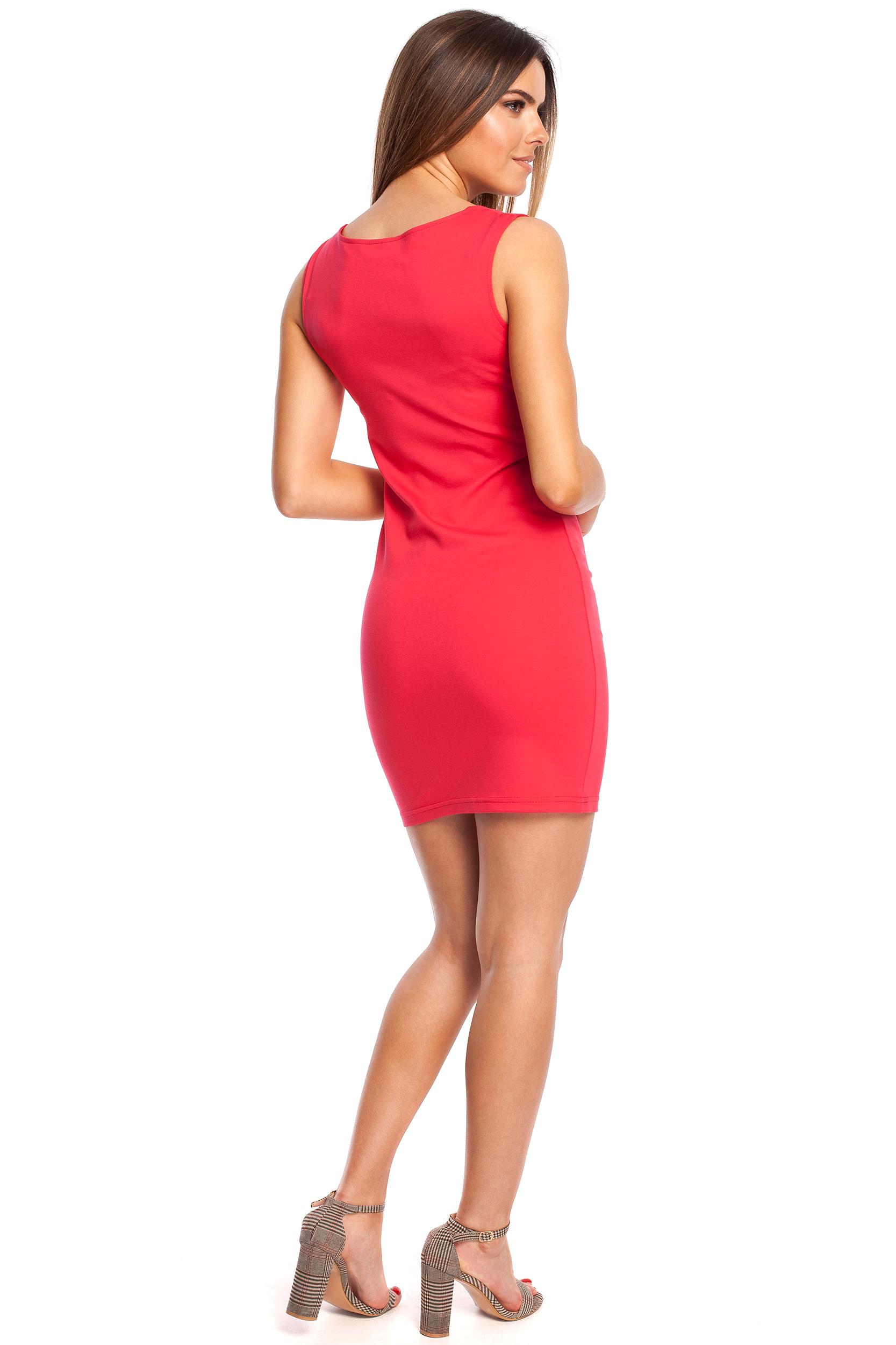 CM4320 Dopasowana sukienka mini na ramiączkach - malinowa