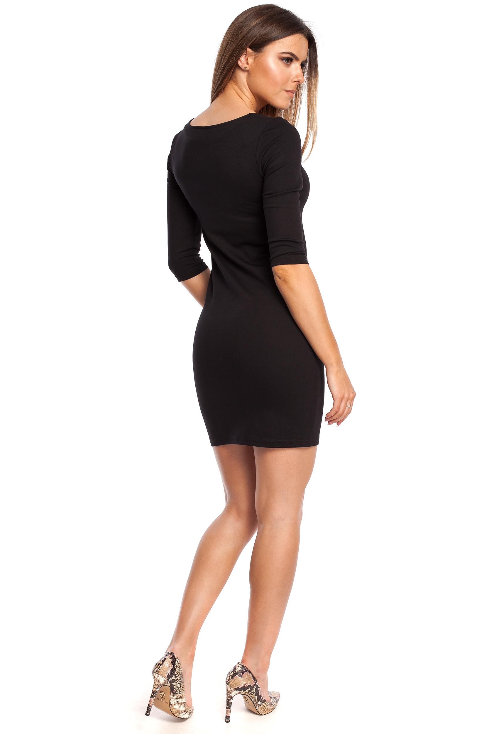 CM4321 Kobieca sukienka z krótkim rękawkiem - czarna