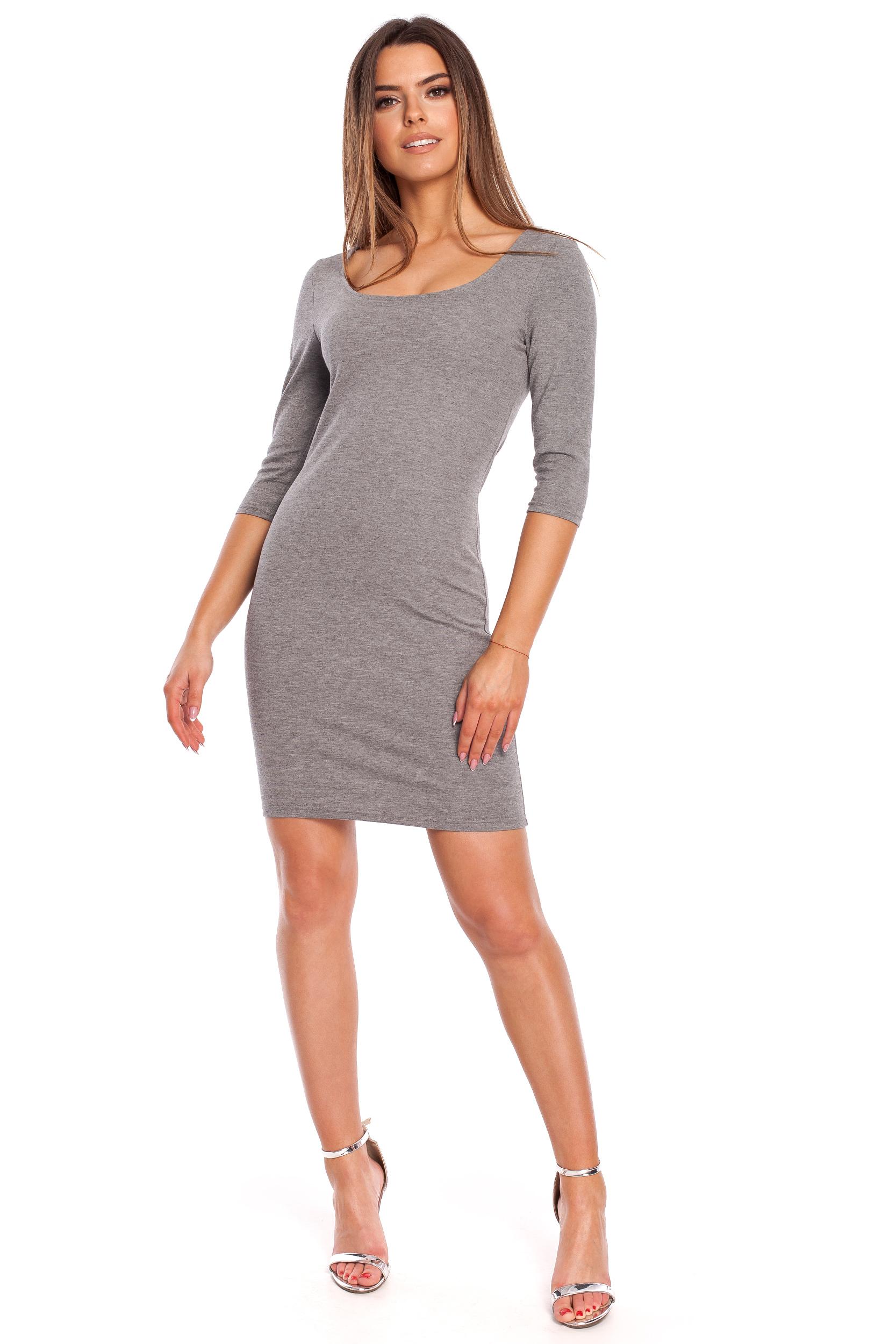 CM4321 Kobieca sukienka z krótkim rękawkiem - szara