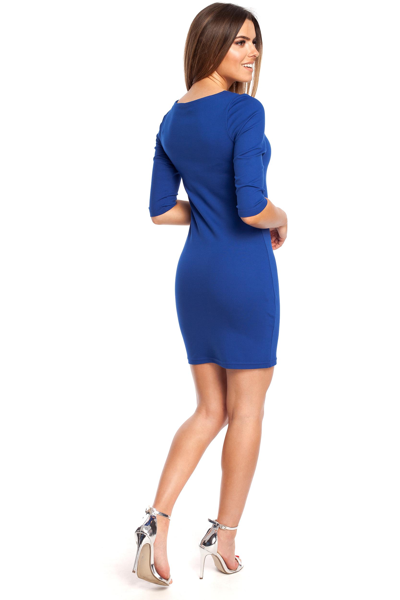 CM4321 Kobieca sukienka z krótkim rękawkiem - chabrowa