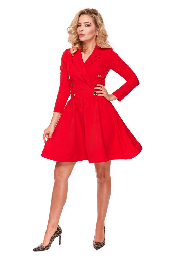 CM4283 Żakietowa sukienka rozkloszowana - czerwona