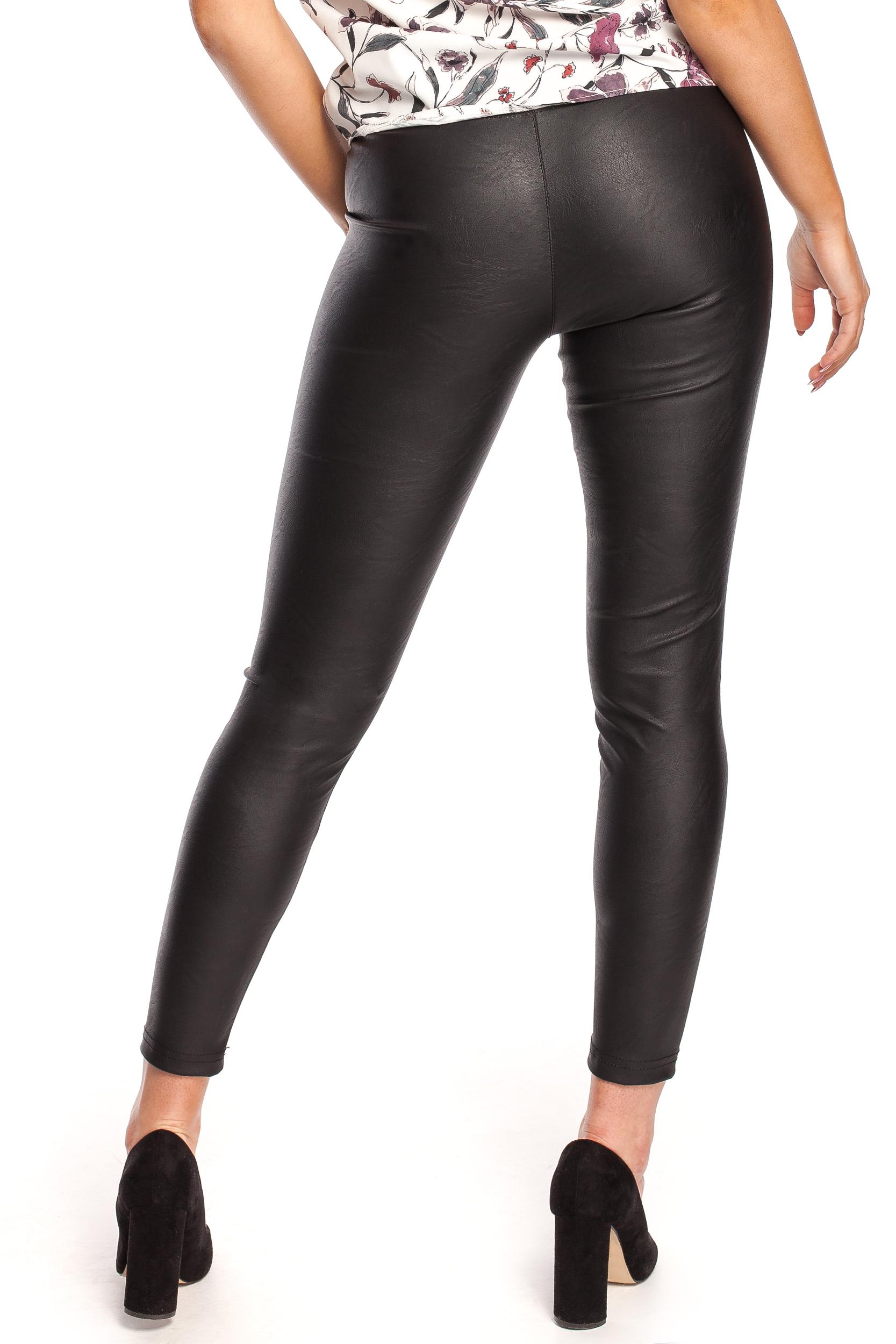 CM4330 Gładkie skórzane spodnie - czarne