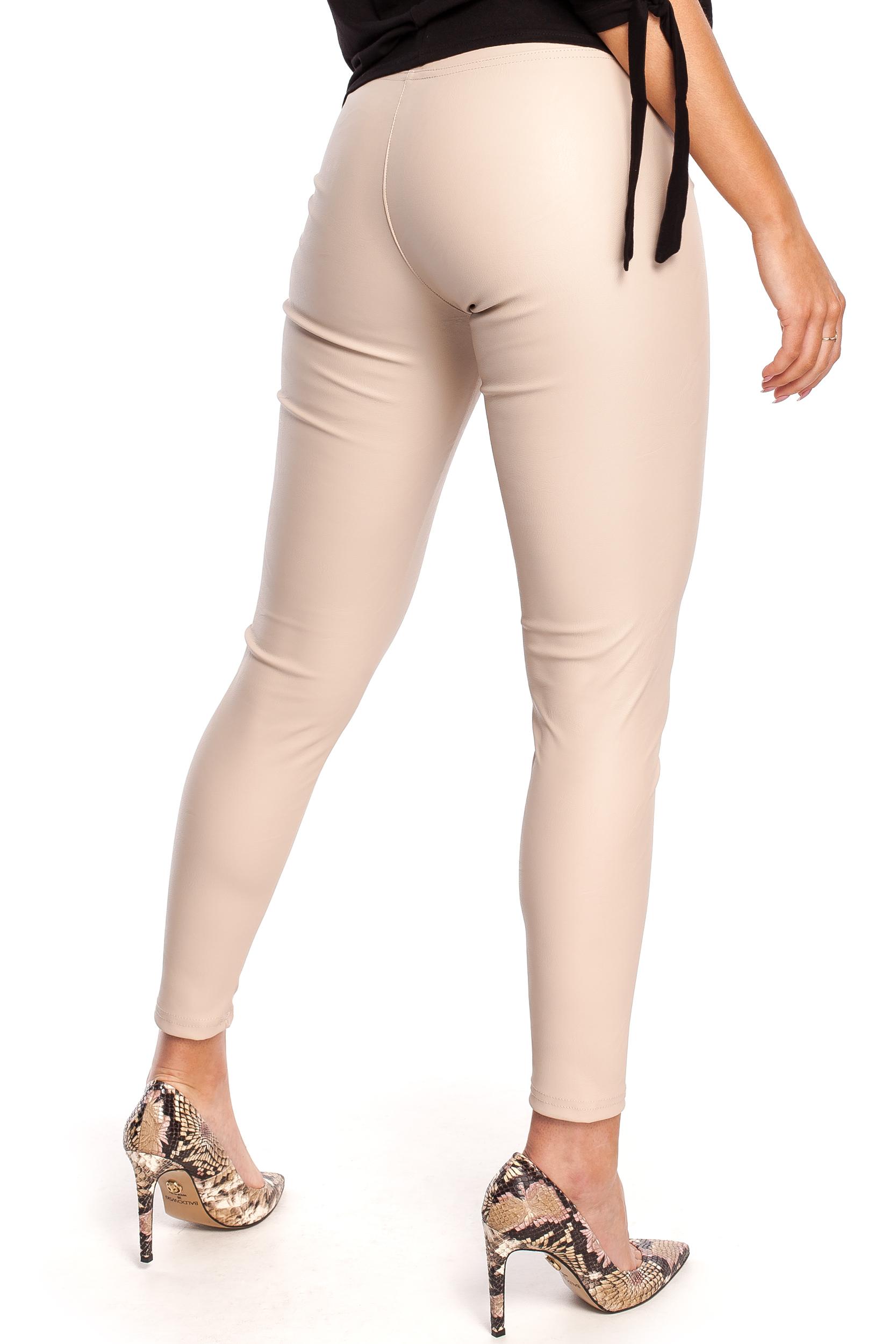 CM4330 Gładkie skórzane spodnie - cappuccino