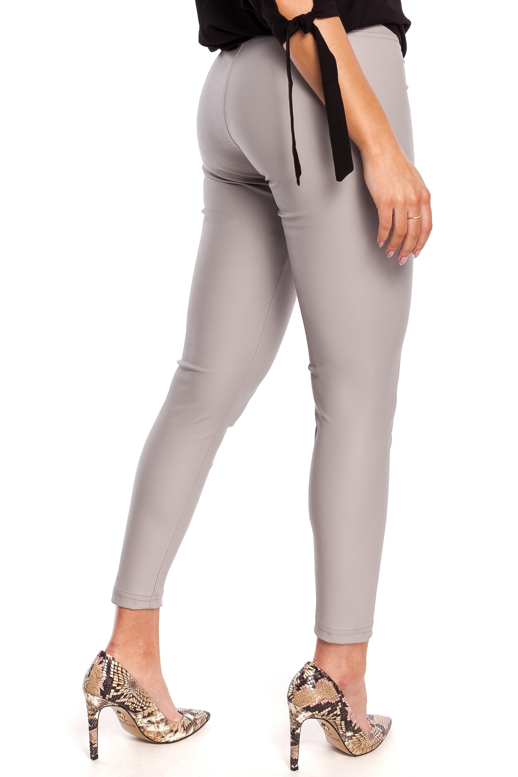 CM4330 Gładkie skórzane spodnie - szare