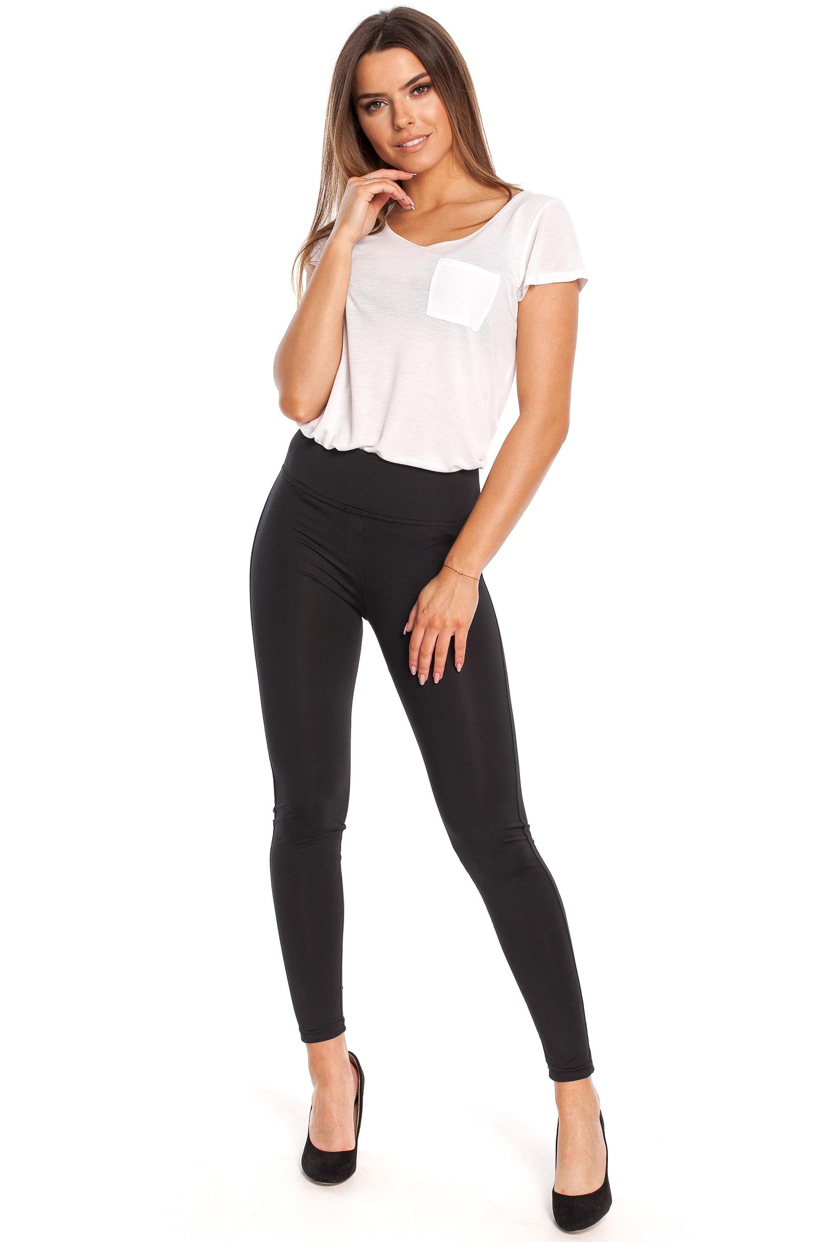 CM4331 Gładkie elastyczne legginsy - czarne