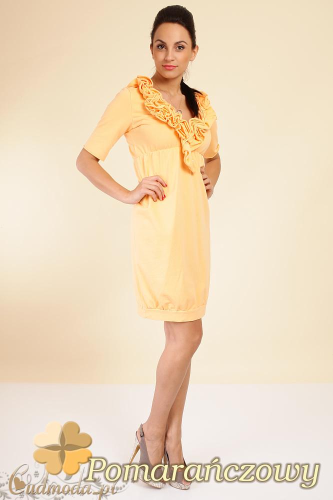 CM0290 Dresowa taliowana sukienka marszczenia - pomarańczowa
