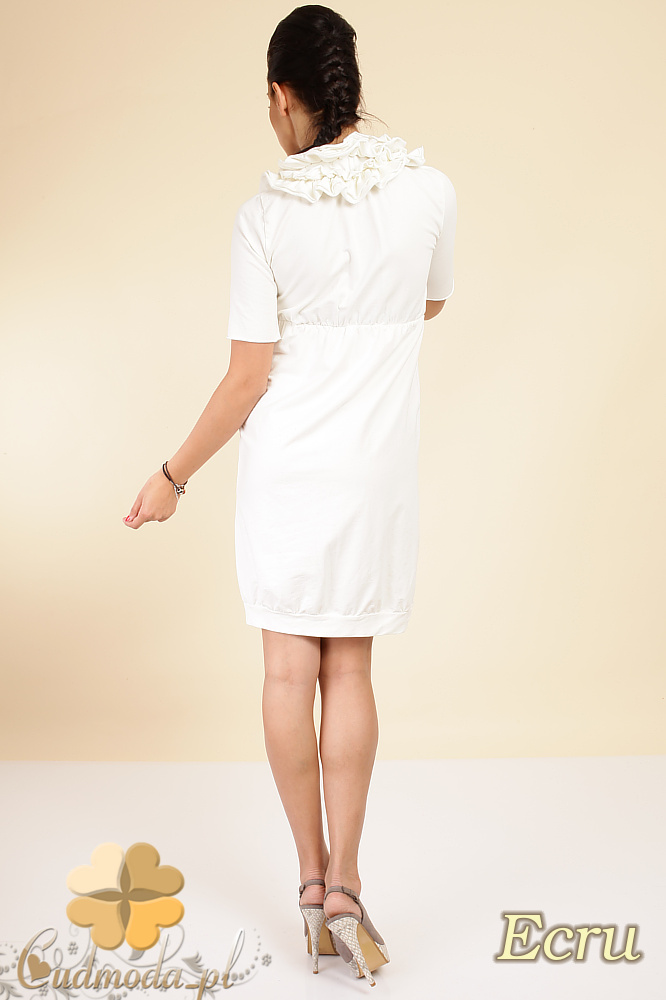 CM0290 Dresowa taliowana sukienka marszczenia - ecru