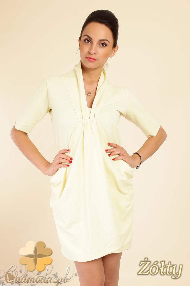 CM0261 luźna mini sukienka tunika z kieszeniami - żółta