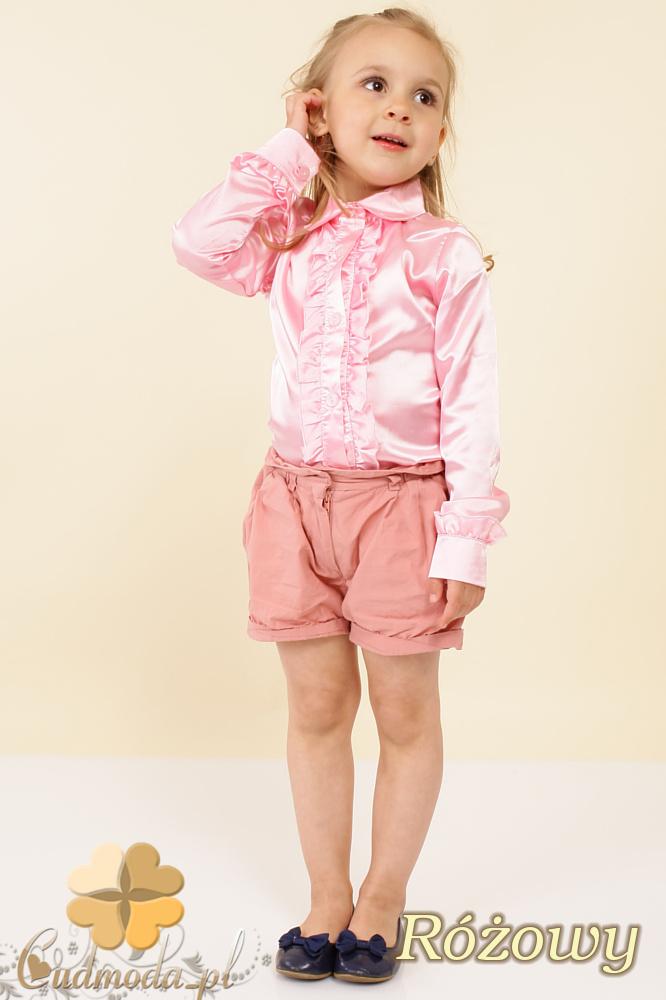 MA019 Elegancka dziewczęca koszula falbanki - różowa