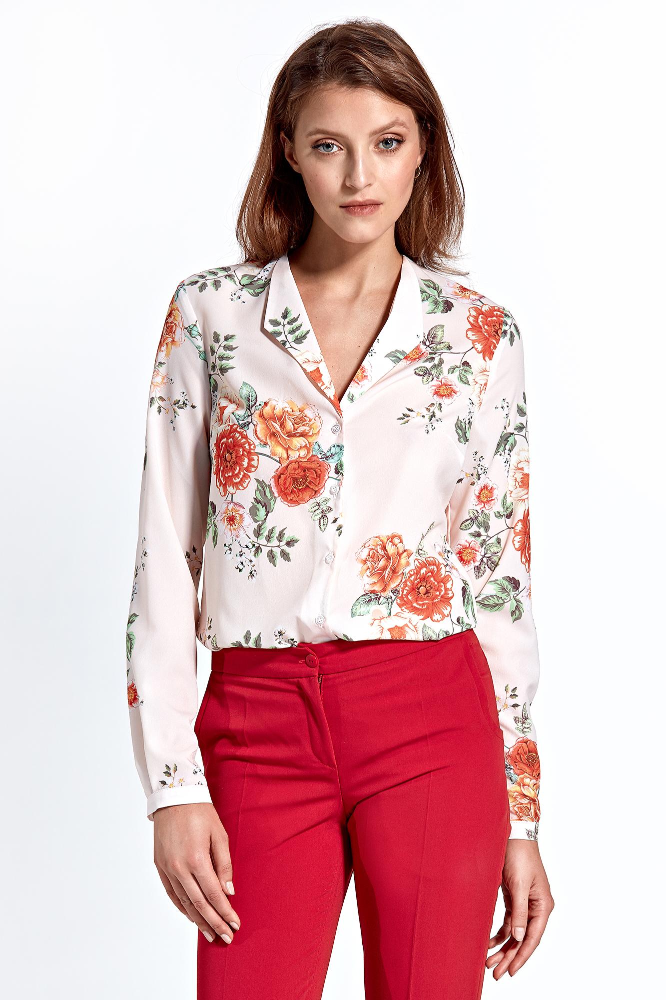 CM4592 Klasyczna koszula z długim rękawem - ecru-kwiaty