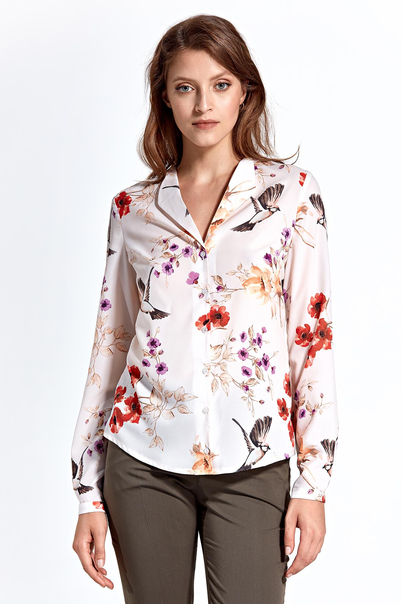 CM4592 Klasyczna koszula z długim rękawem - ecru-wzór