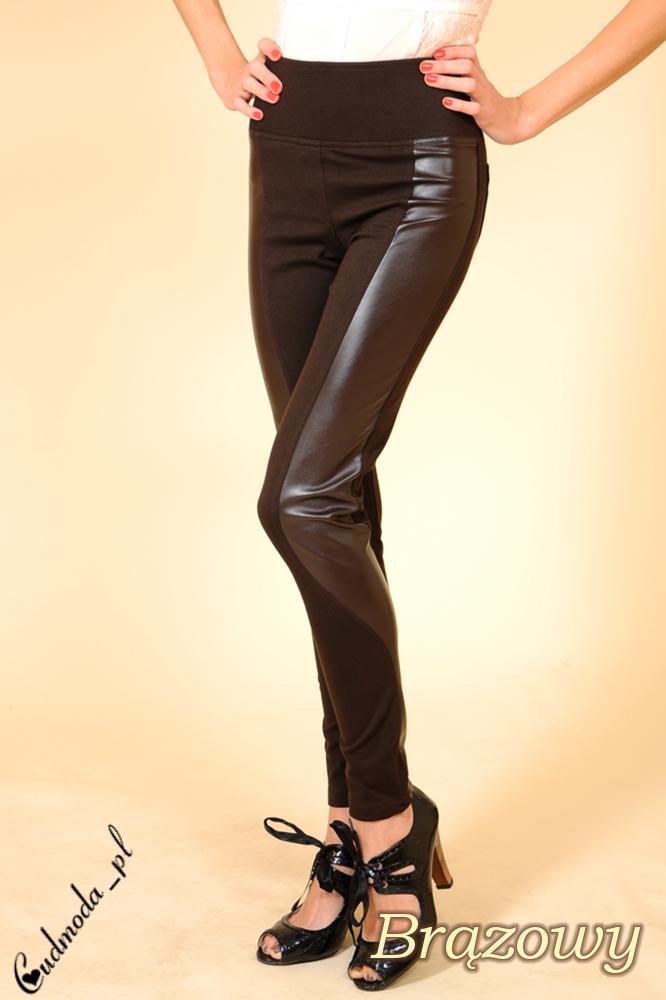 CM0028 Włoskie getry leginsy spodnie skóra II - brązowe