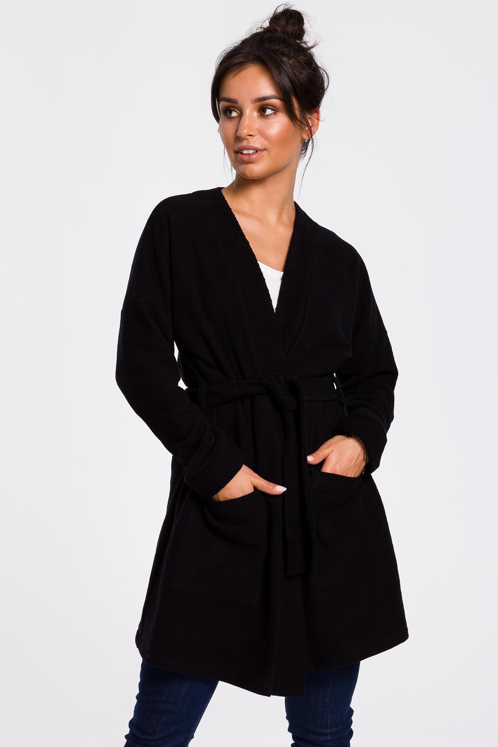 CM4596 Długi żakiet typu kimono - czarny