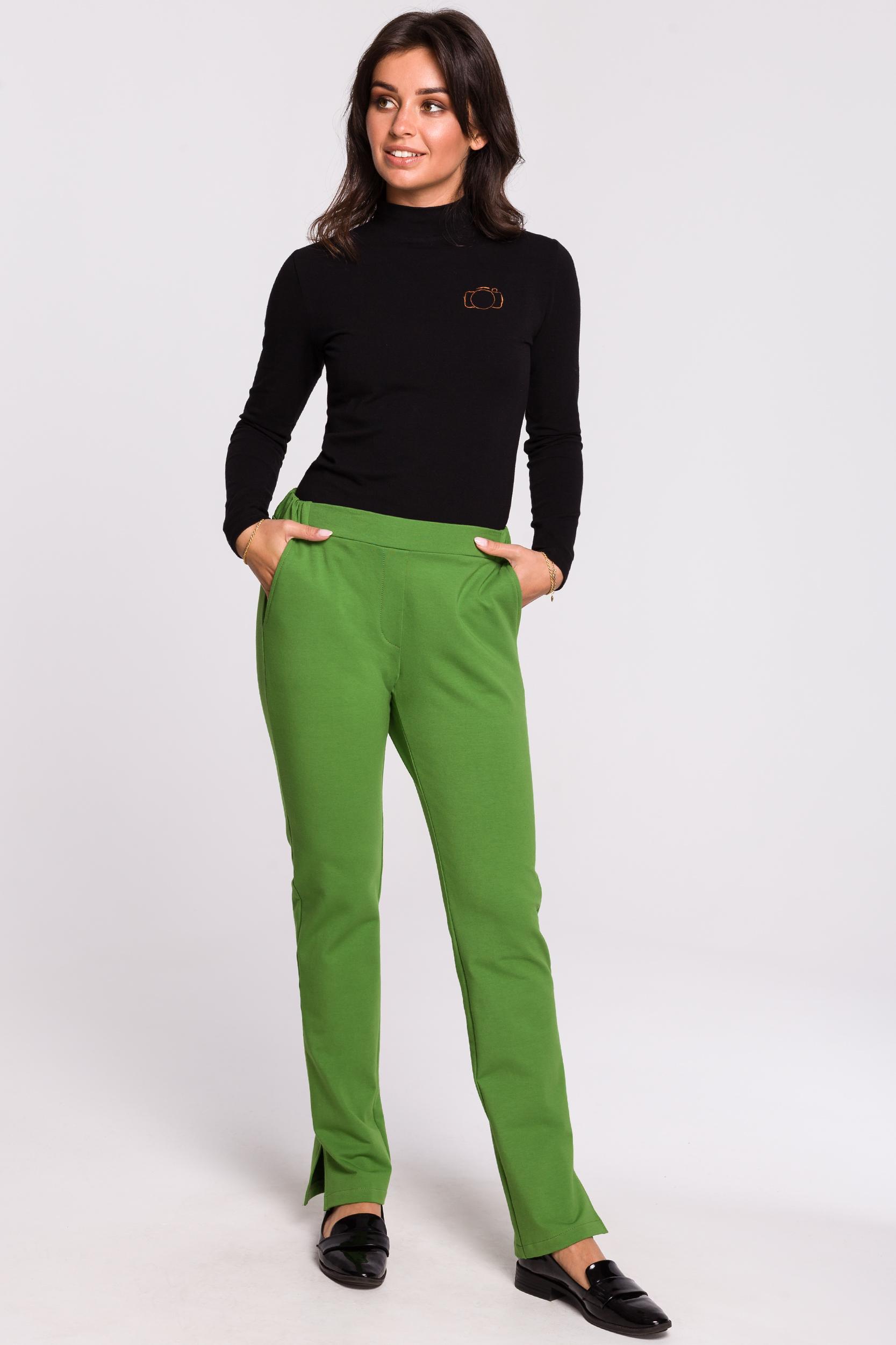 CM4599 Spodnie z rozporkami po bokach - limonkowe