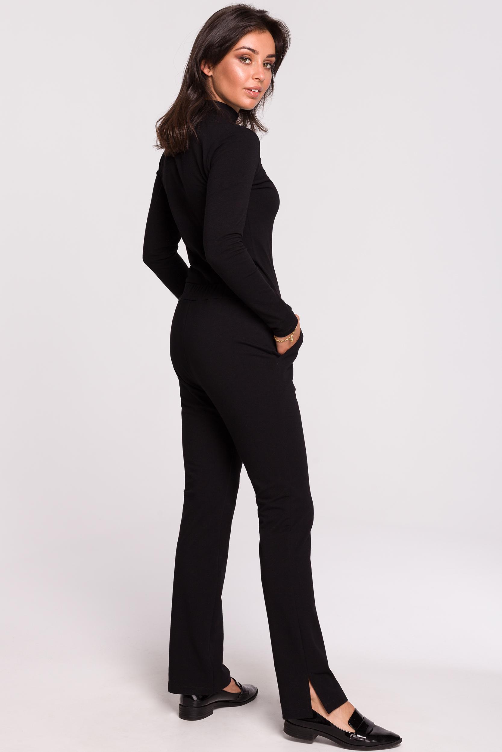 CM4599 Spodnie z rozporkami po bokach - czarne