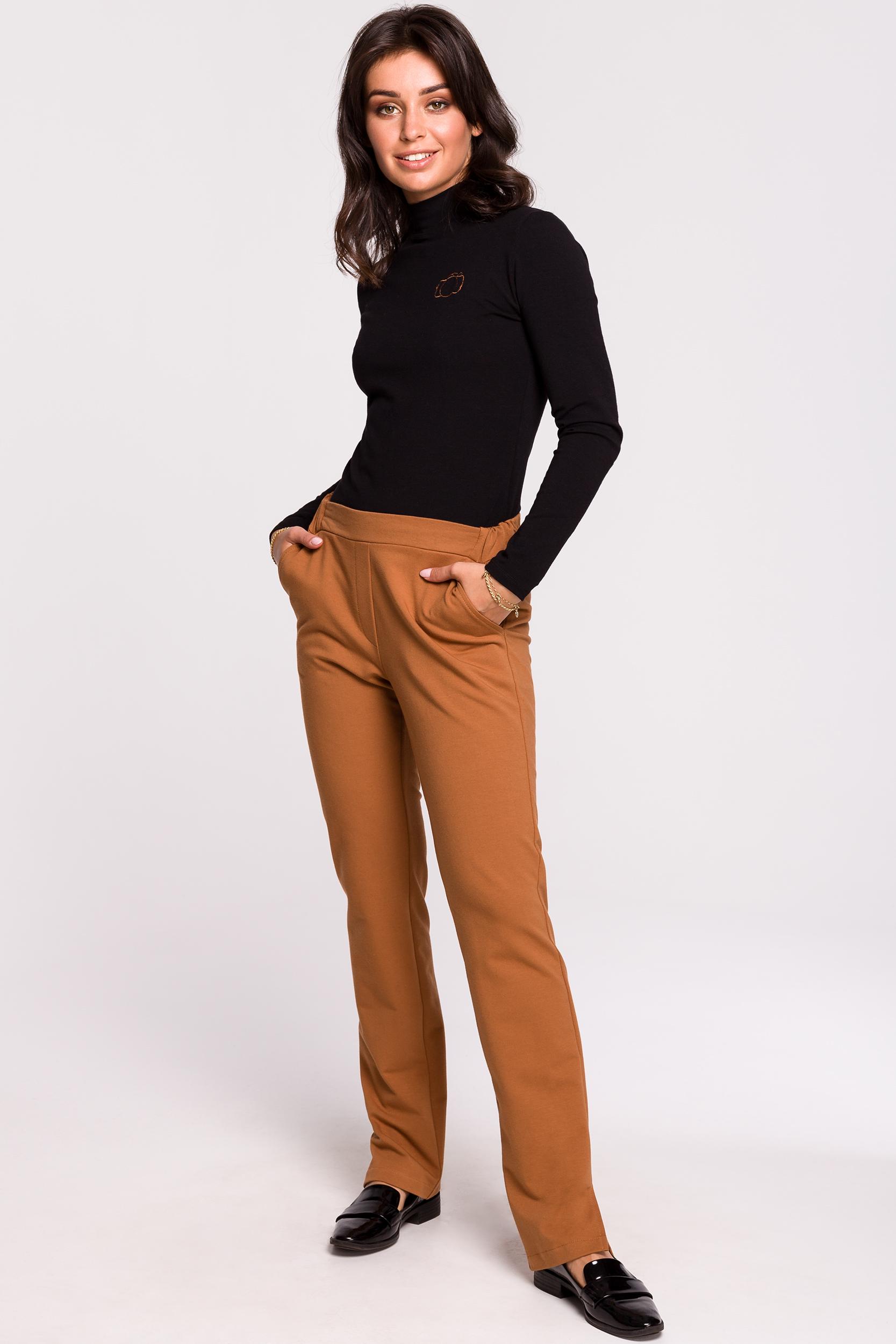 CM4599 Spodnie z rozporkami po bokach - karmelowe