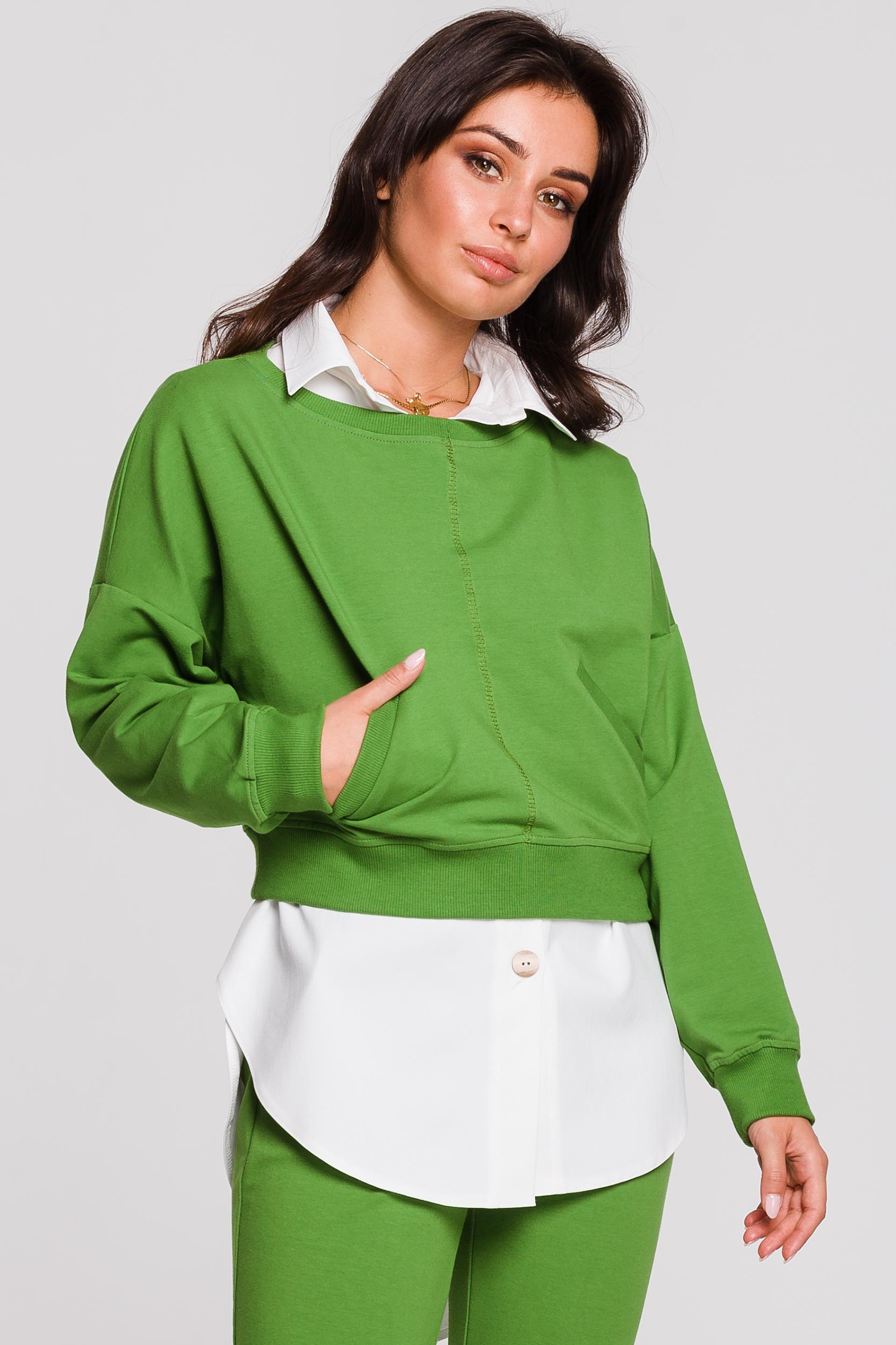 CM4600 Stylowa krótka bluza - limonkowa