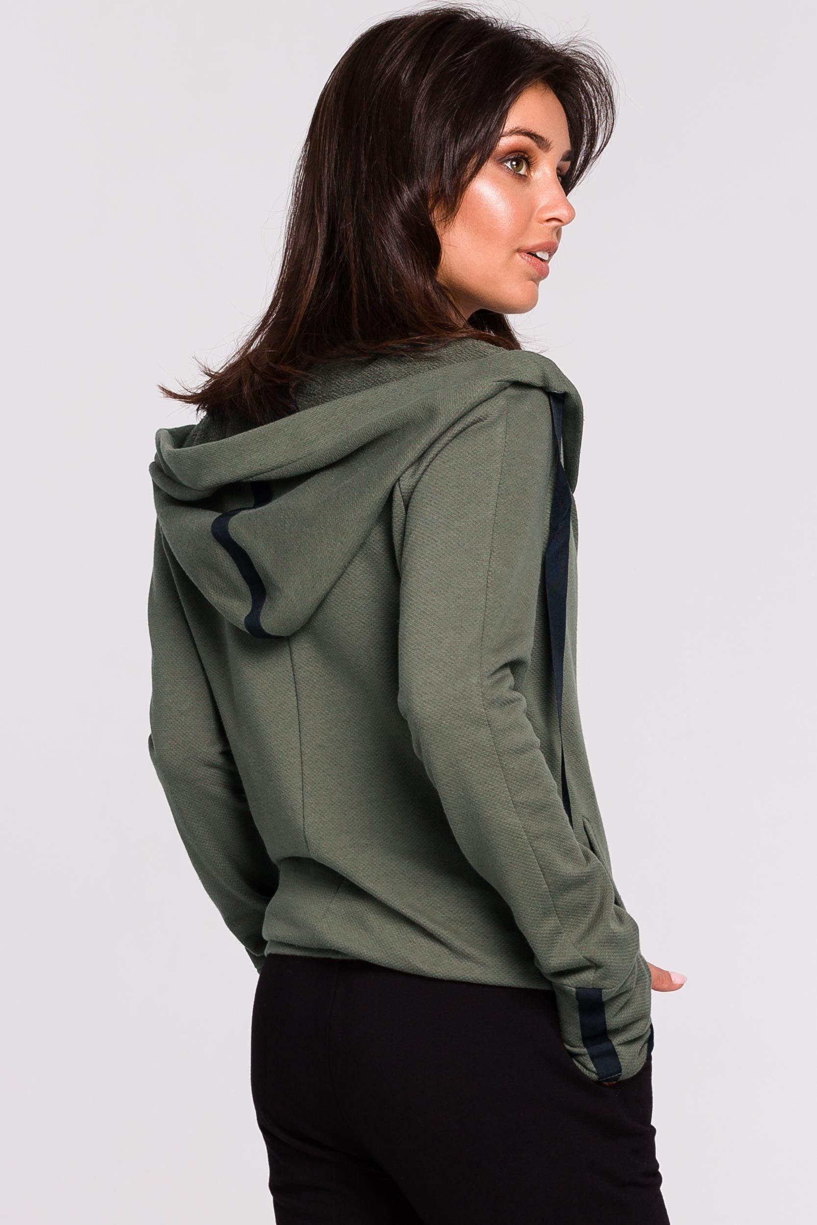 CM4602 Bluza z kapturem i przodem na zakładkę - khaki