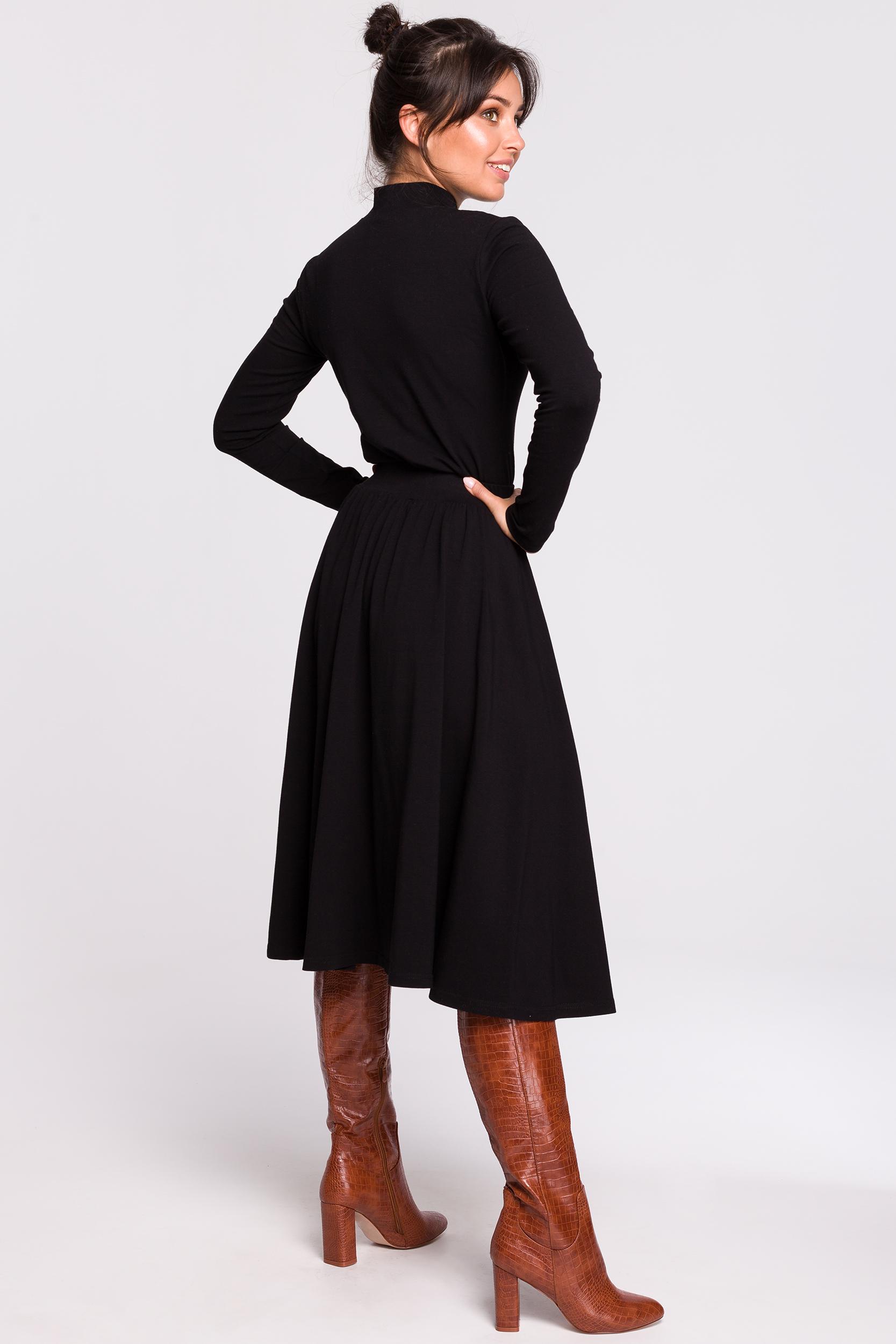 CM4605 Spódnica midi rozkloszowana - czarna