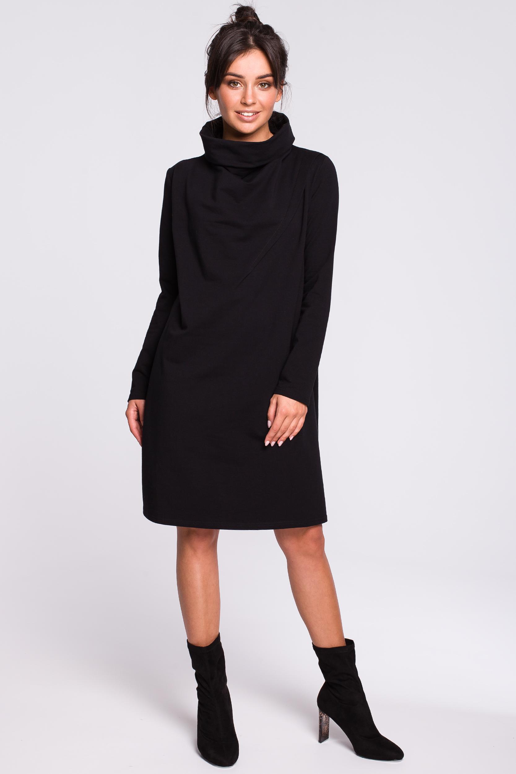 CM4607 Sukienka z wysokim kołnierzem - czarna