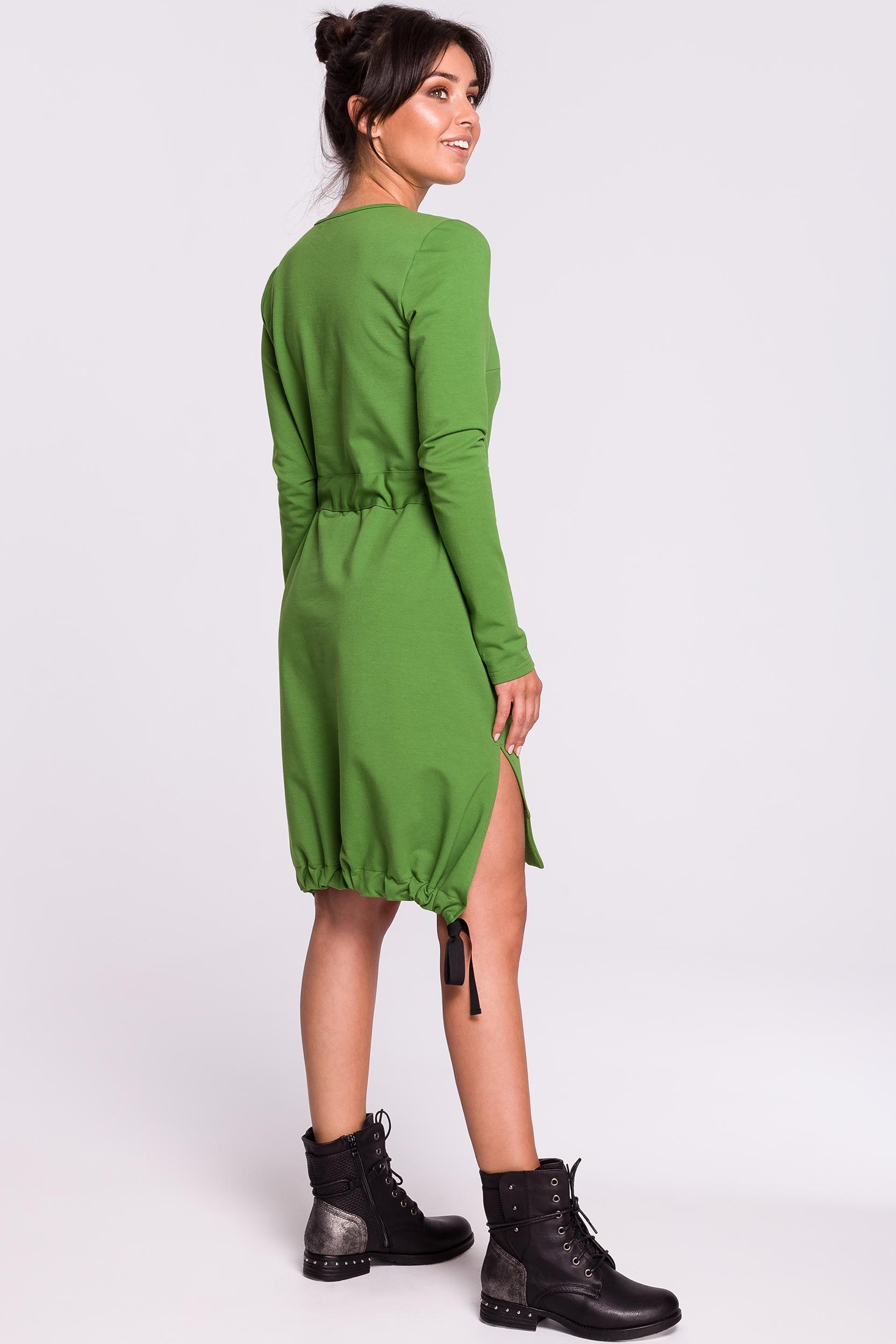 CM4608 Sukienka z rozcięciami na bokach - limonkowa